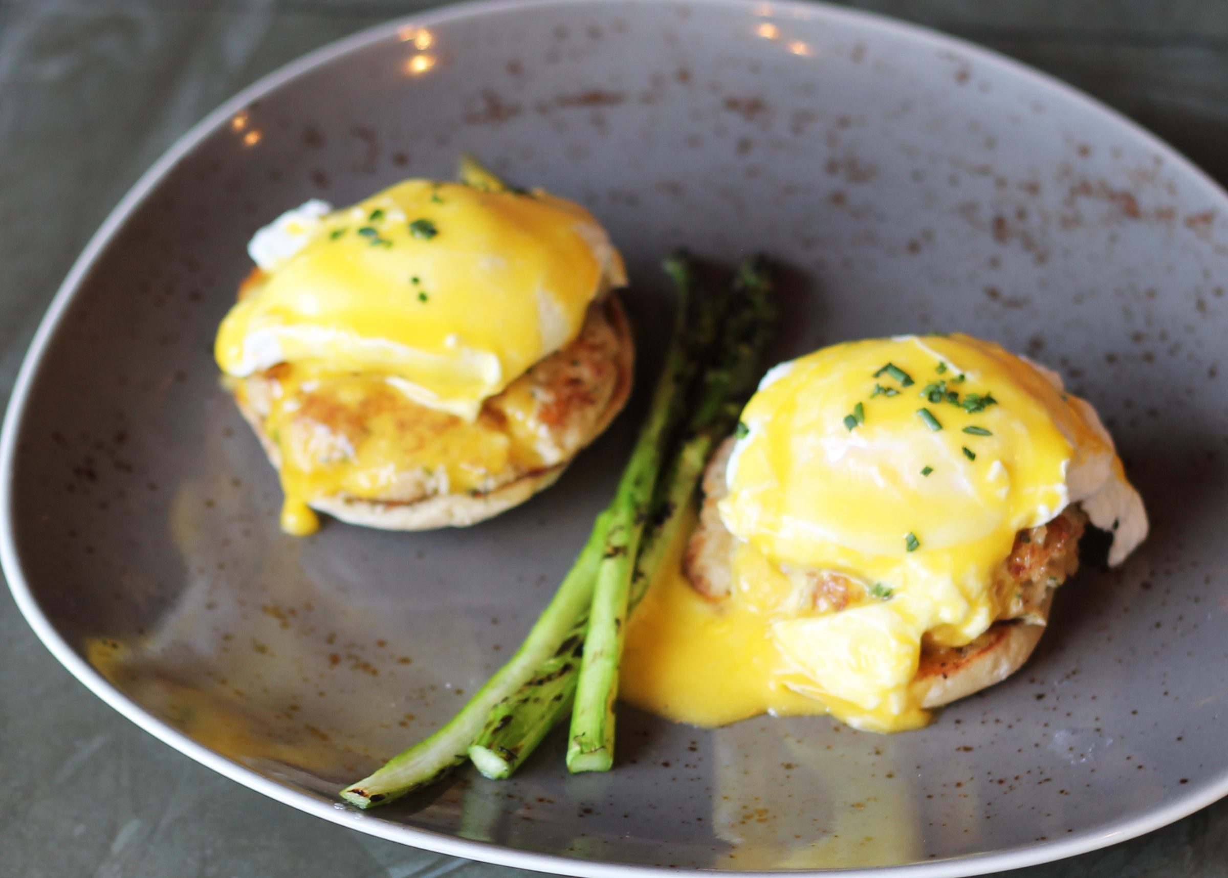 CRAB CAKES EGGS BENEDICT: POACHED EGGS, ENGLISH MUFFIN, HOLLANDAISE