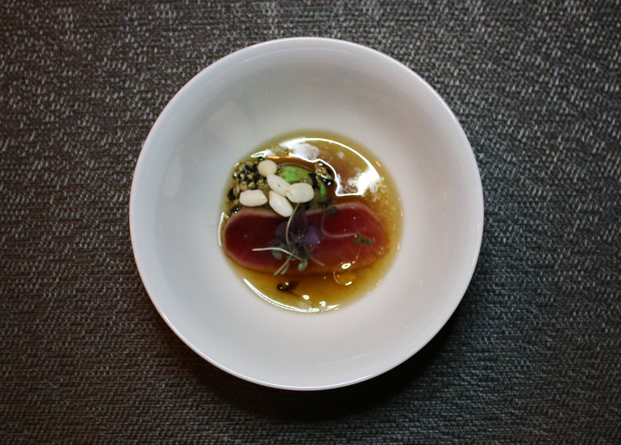 Big Eye Tuna: Baked Avocado, Yuzu Ponzu, Caviar, Smoked Sesame, Red Shiso