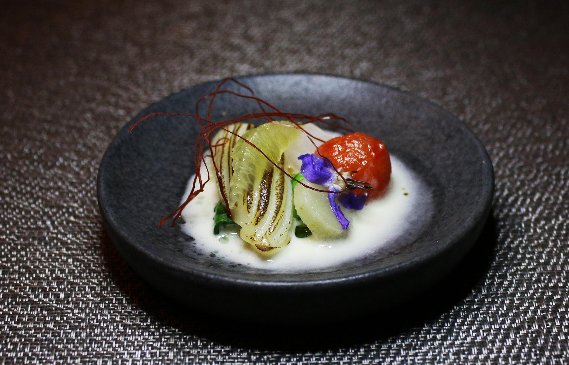 Cuttlefish: Sake Lemon Grass Reduction, Burdock Root, Pickled Daikon Radish