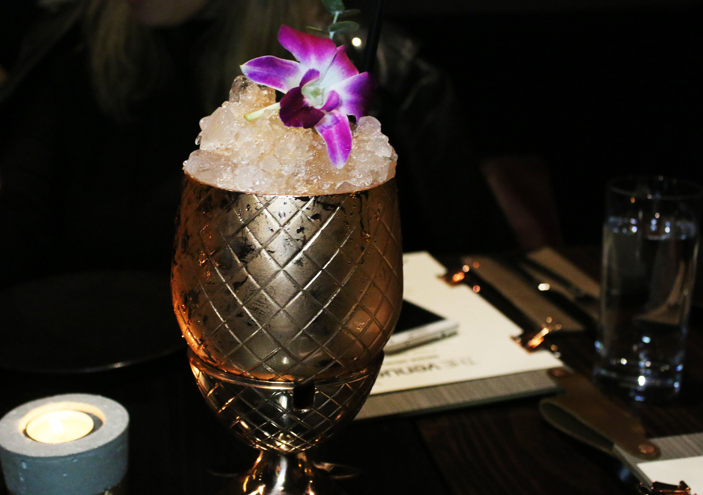 The Seana: Absolut Elyx Vodka, Yellow Chartreuse, Eucalyptus, Lemon, Passion Fruit, Angostura Bitters