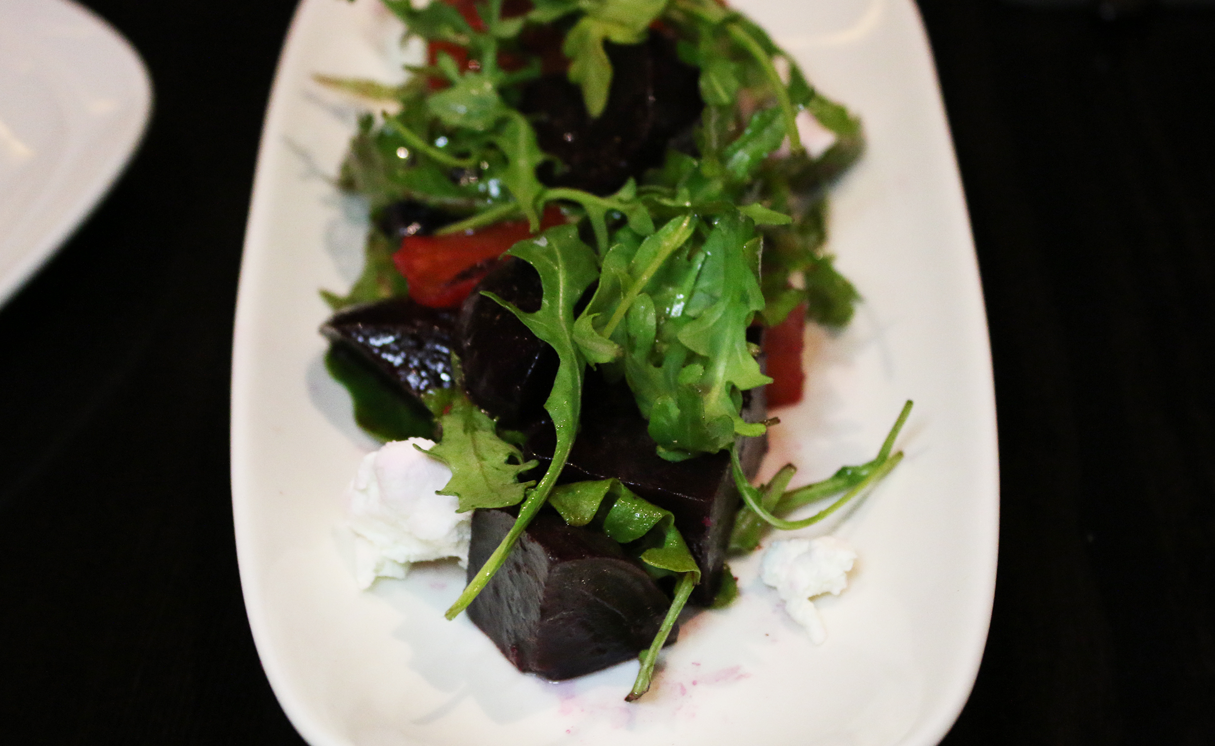 Roasted Beet Salad: Arugula, Goat Cheese, Sherry Vinaigrette