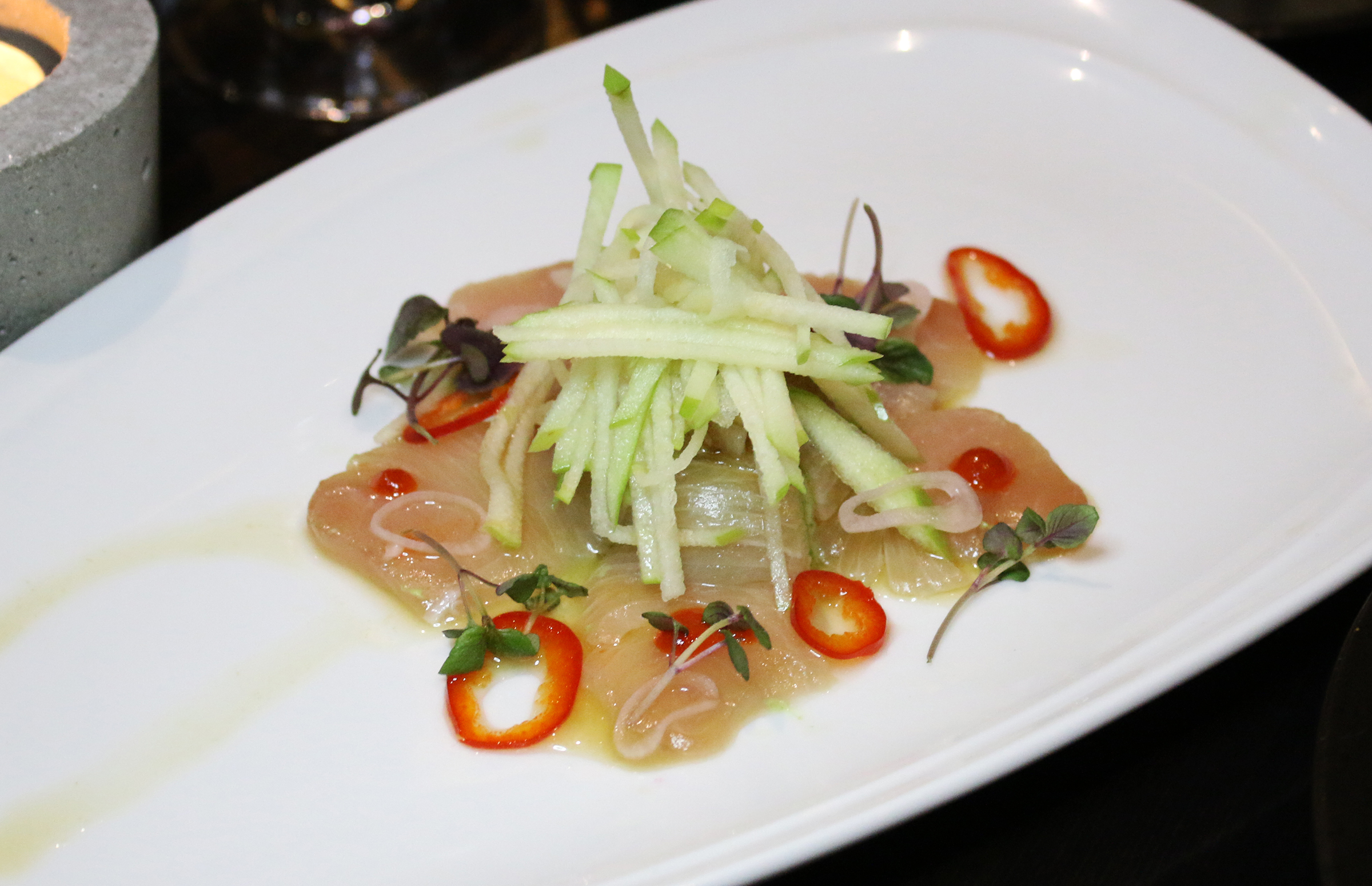 Yellow Tail: Avocado Puree, Pickled Shallots, Radish, Soy Yuzu Vinaigrette