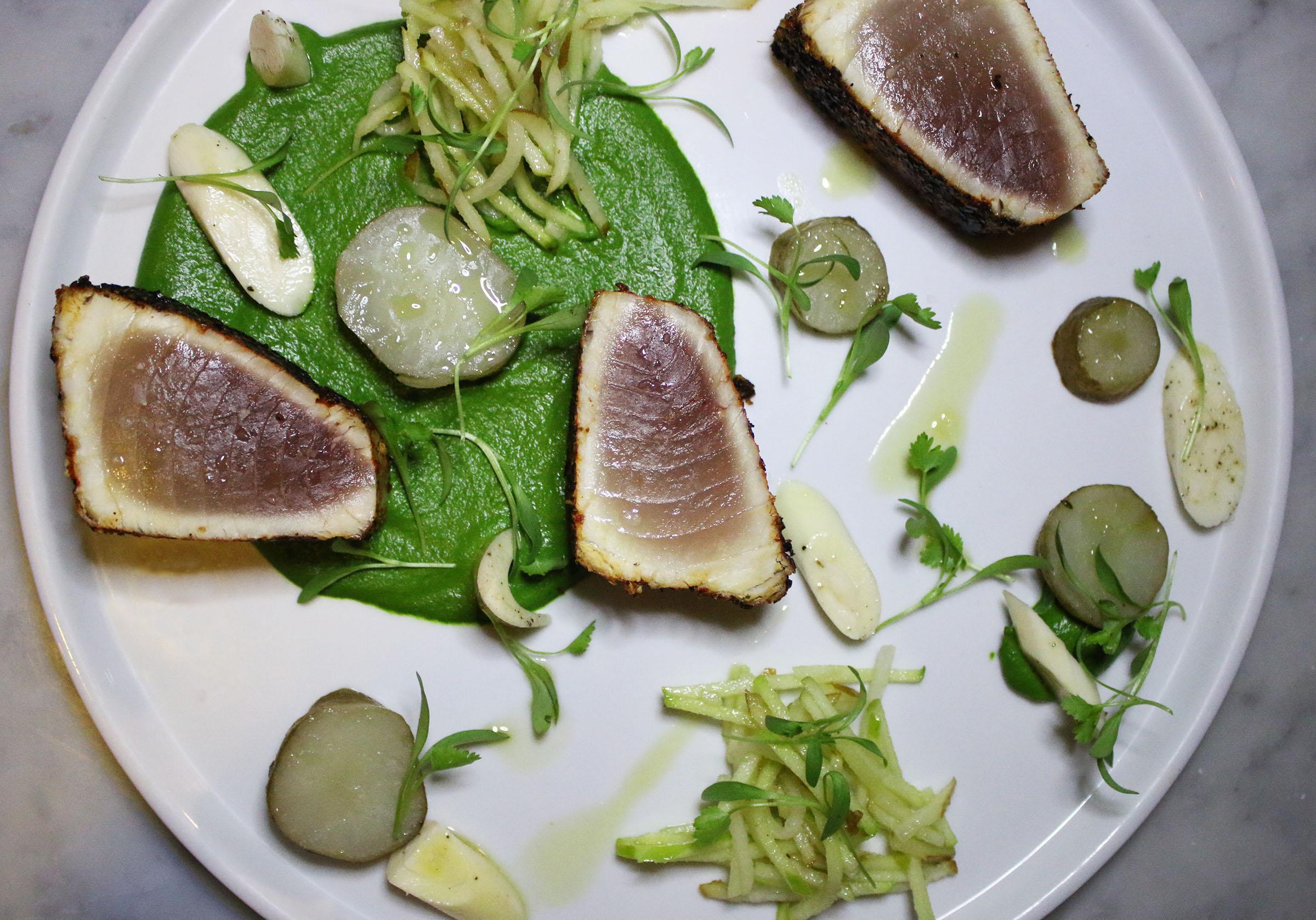 ALBACORE: sunchoke, apple, pear, heart of palm, mole verde