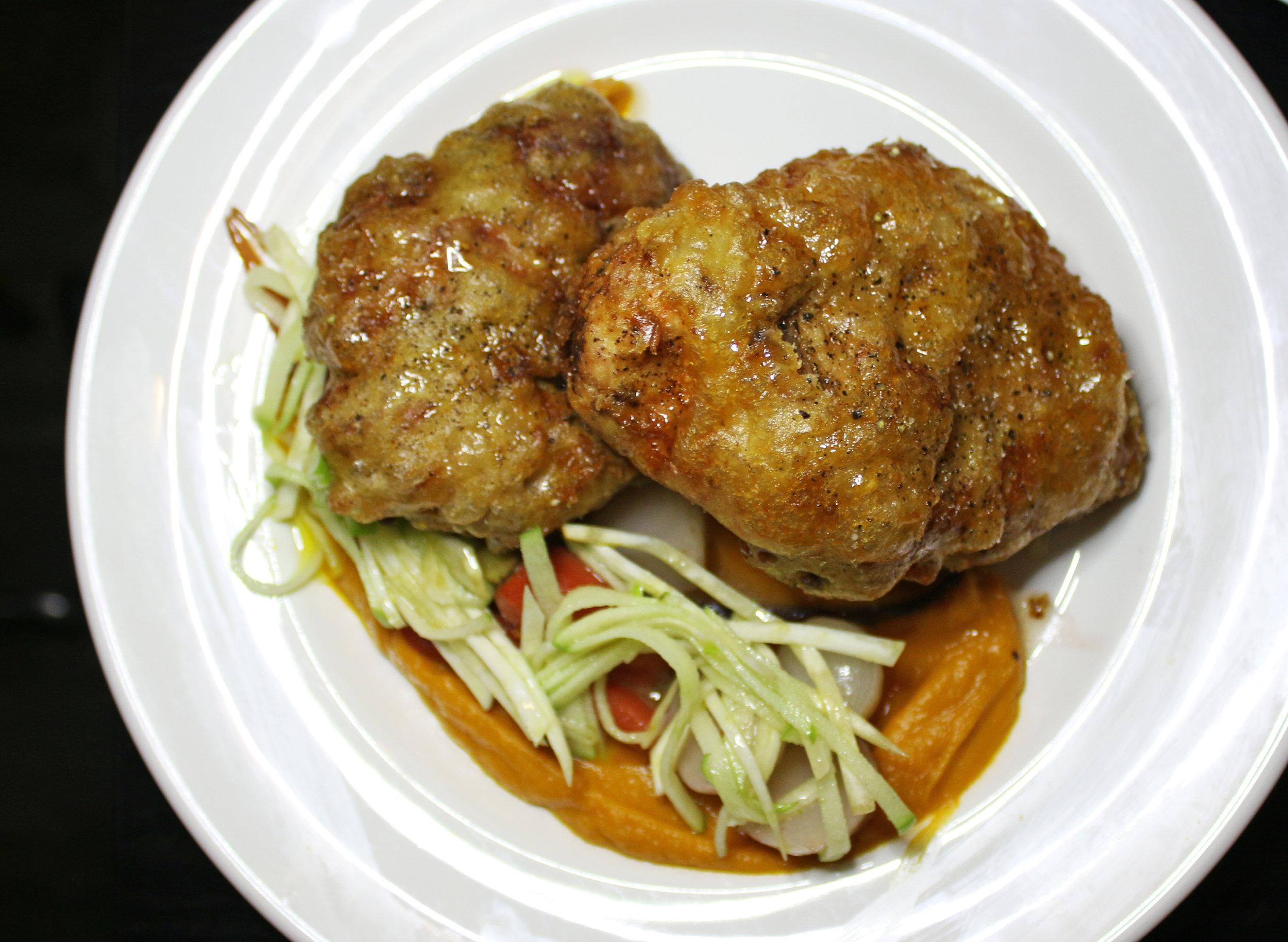 Fried Chicken: Butternut Squash, Honey Glazed Baby Vegetables, Apple Celery Root Slaw