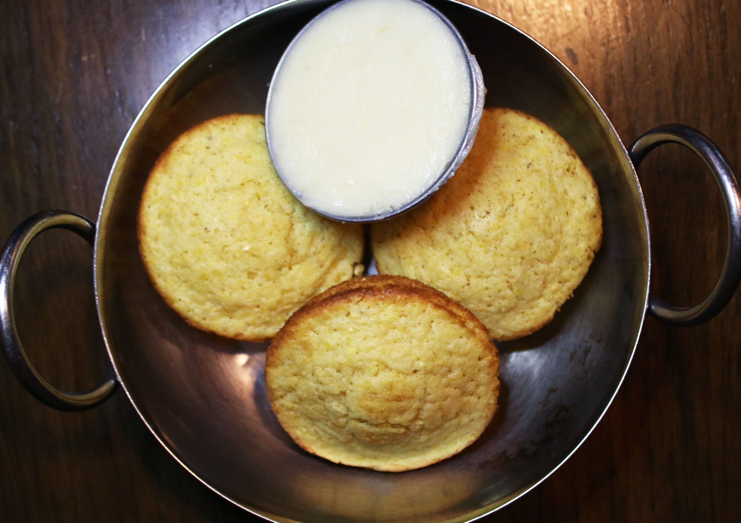 Mini Corn Bread Muffins with whipped honey butter