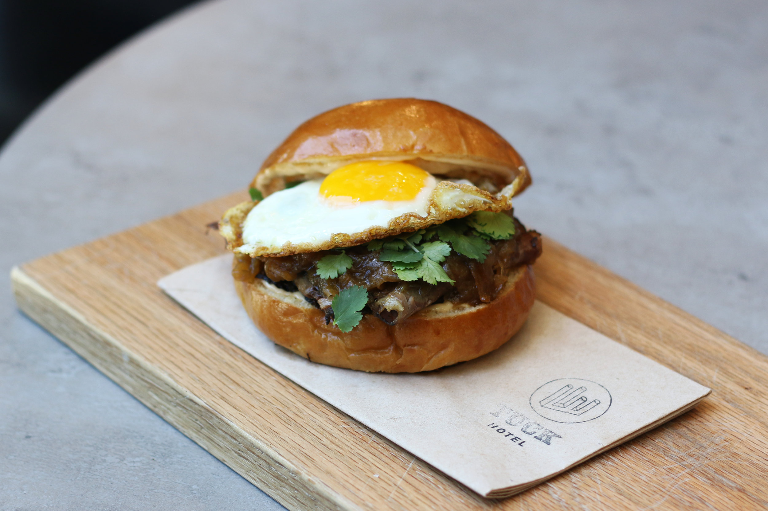 24 Hour Smoked Brisket Sandwich with a Fried Egg