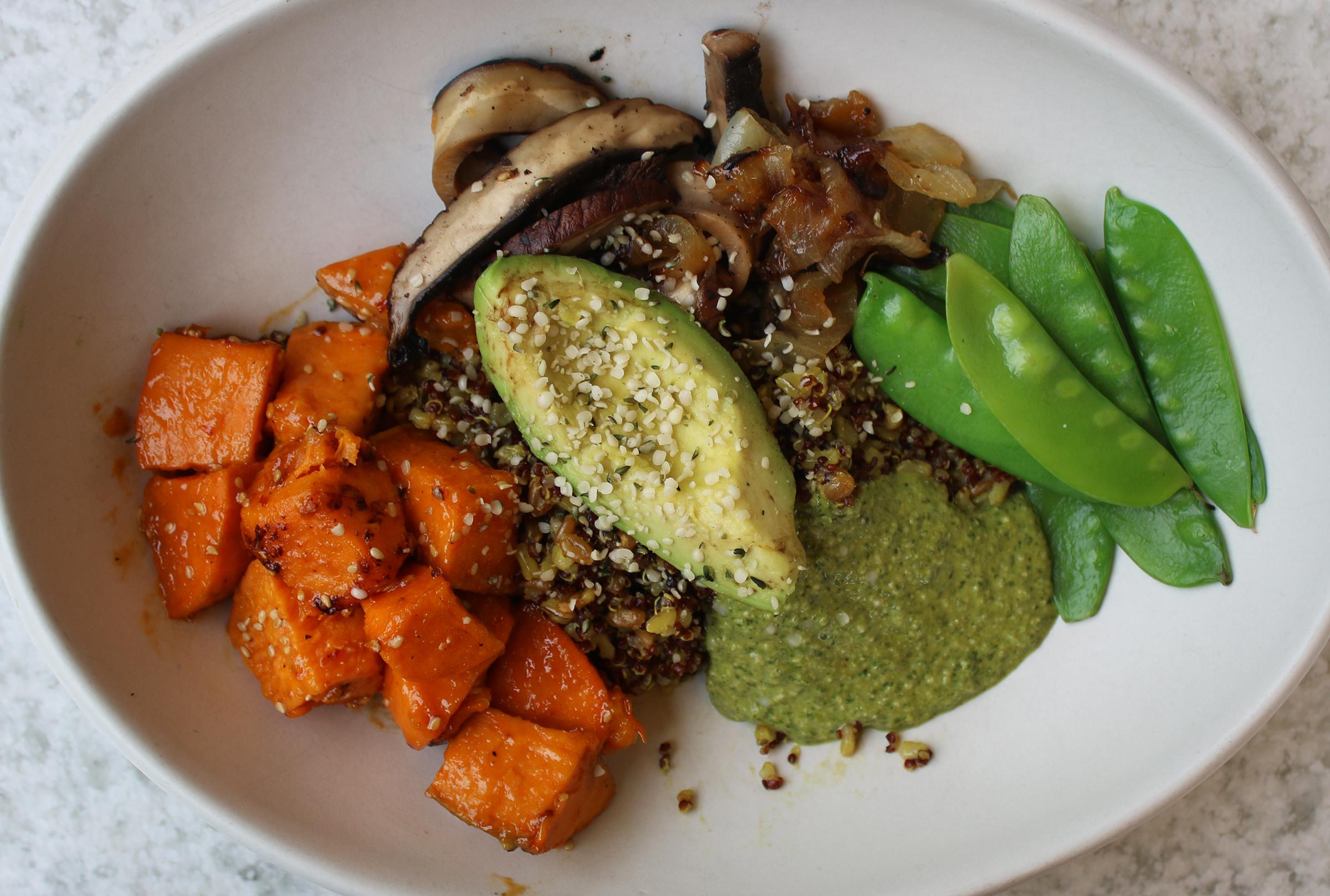 Ancient Grains miso glazed sweet potato, turmeric, charred onion, snow pea, grilled portobello, avocado, hemp seed