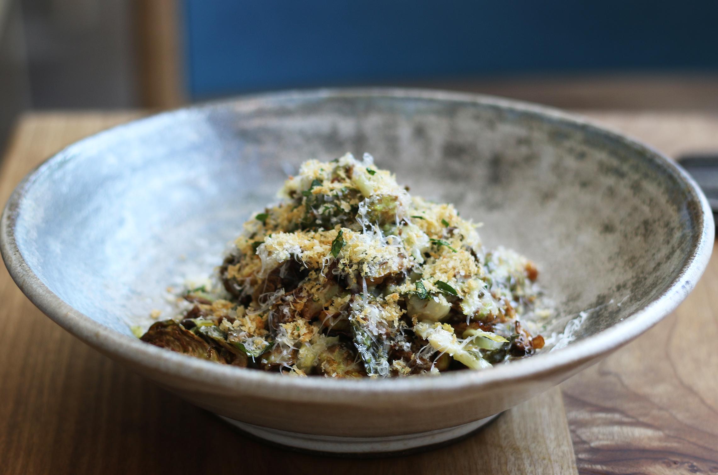 Brusela: roasted & fermented, brussels sprouts, garum vinagreta, idiazabel migas