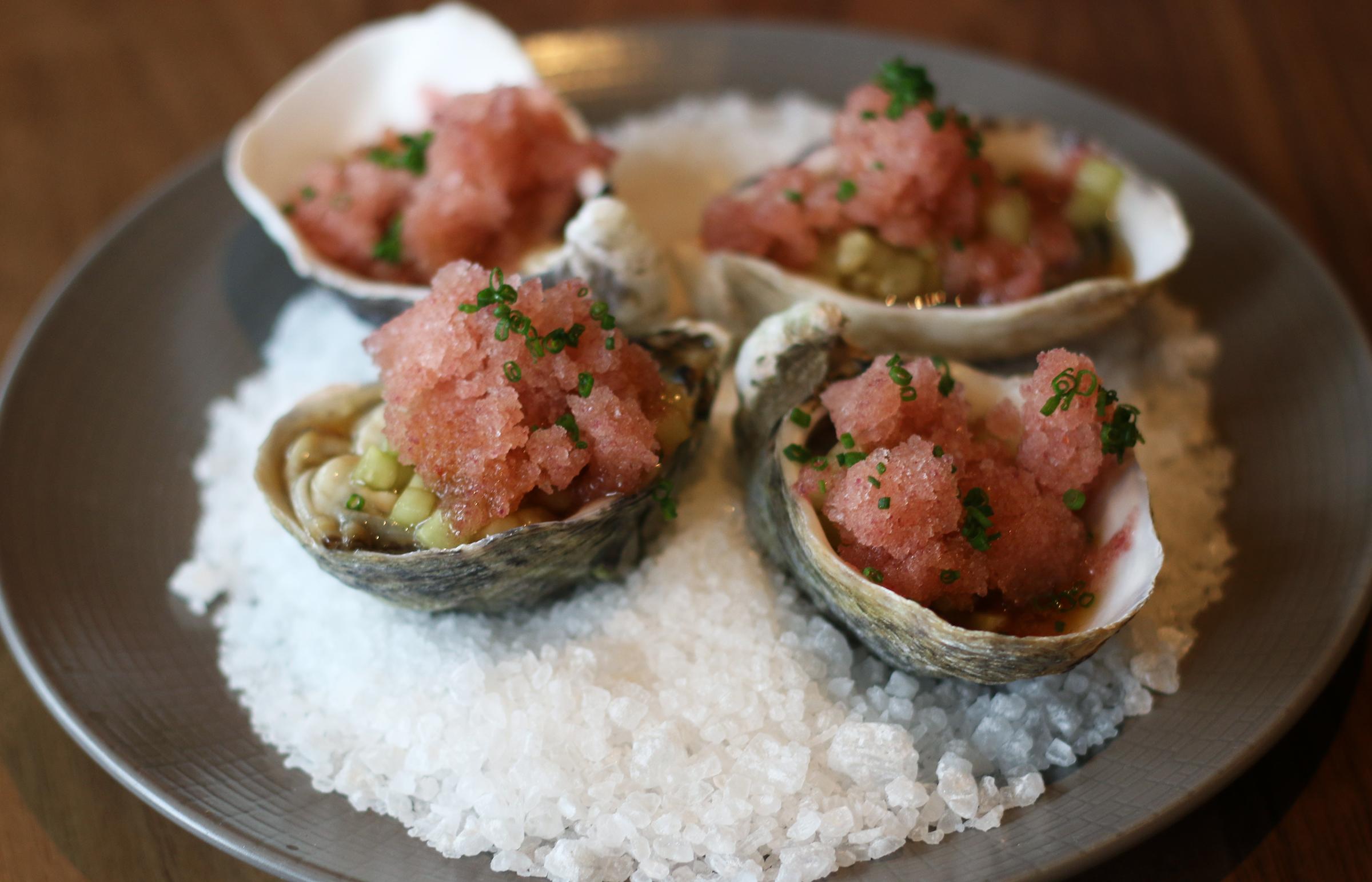 coromandel oysters:    seaweed kanzuri granita,cucumbers,oyster vinaigrette