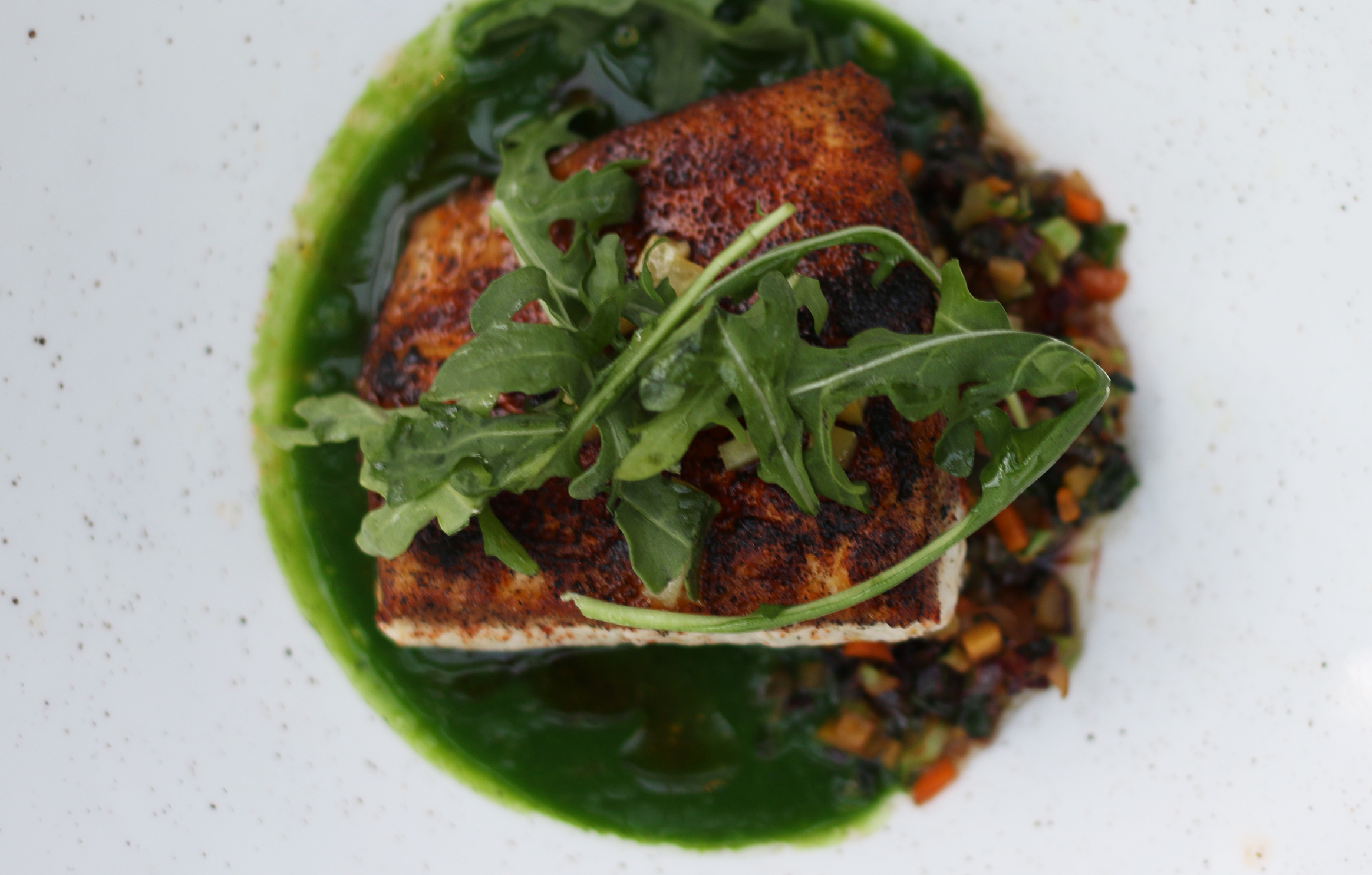 Fish of the Day : Ash crust, spinach chilpete, swiss chard stem, guisado, russian kale, preserved lemon