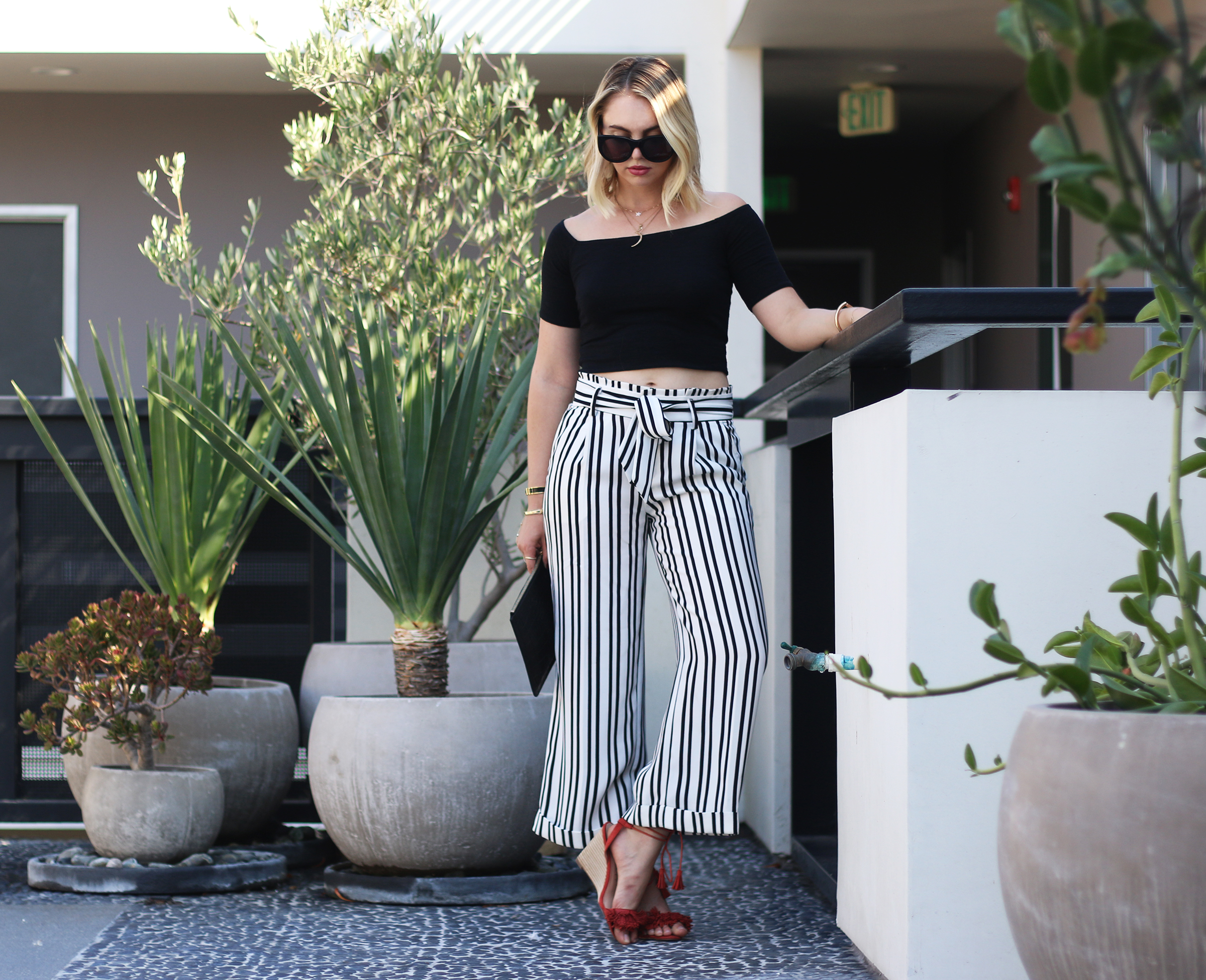 Banana Republic black and white striped culotte