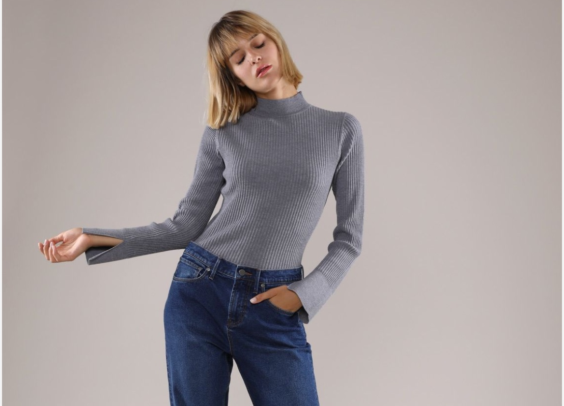 Merino Wool Rib Mock Neck Sweater,  $85.00