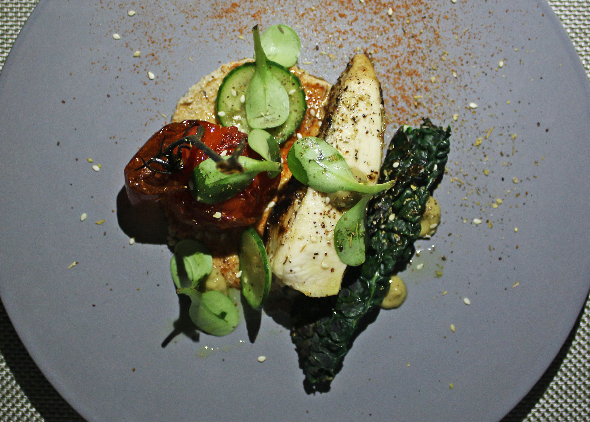 Mary's Chicken: blistered tomato, persian cucumber
