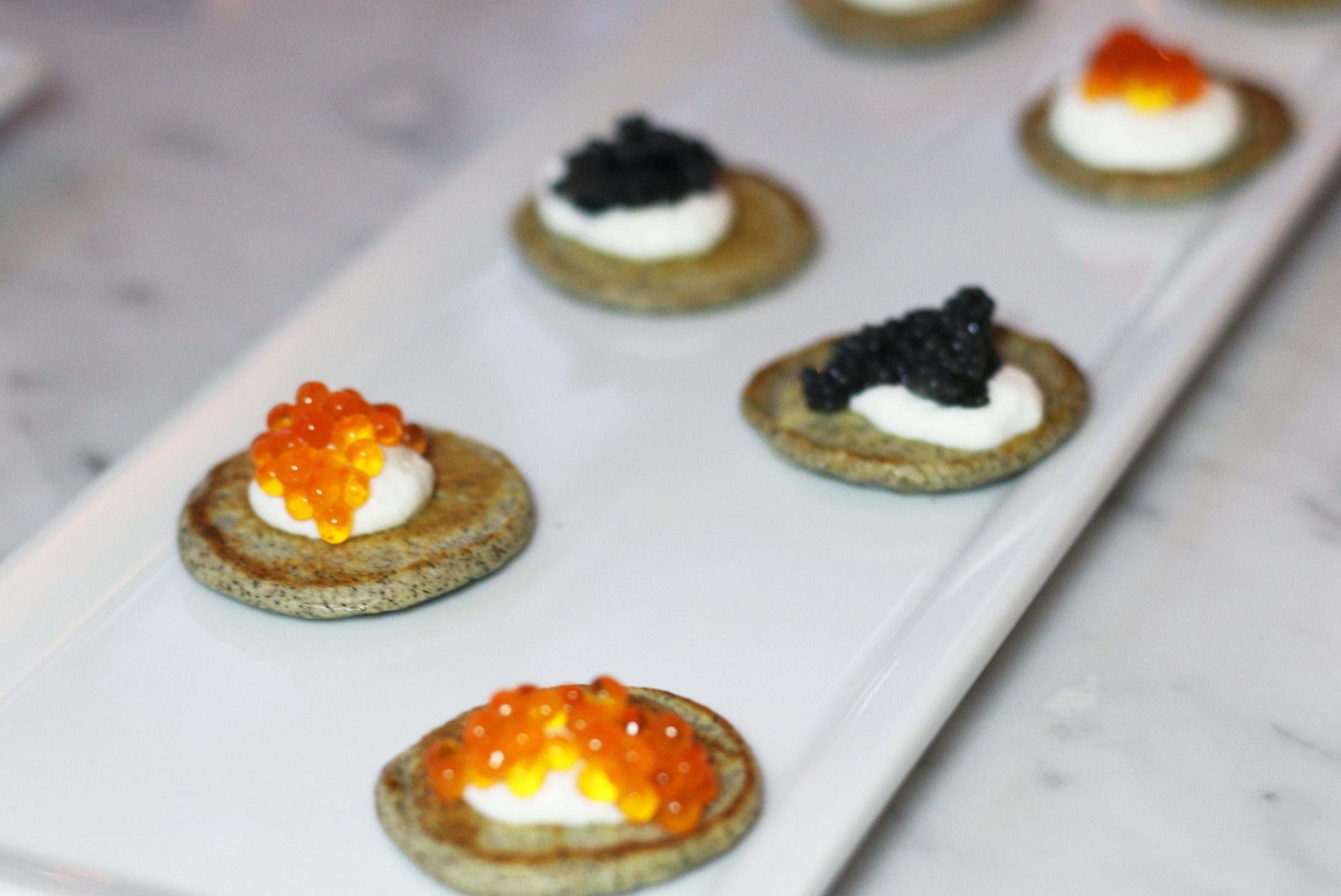 Buckwheat Blinis  Caviar, Trout Roe, Salmon Roe and Pike Roe