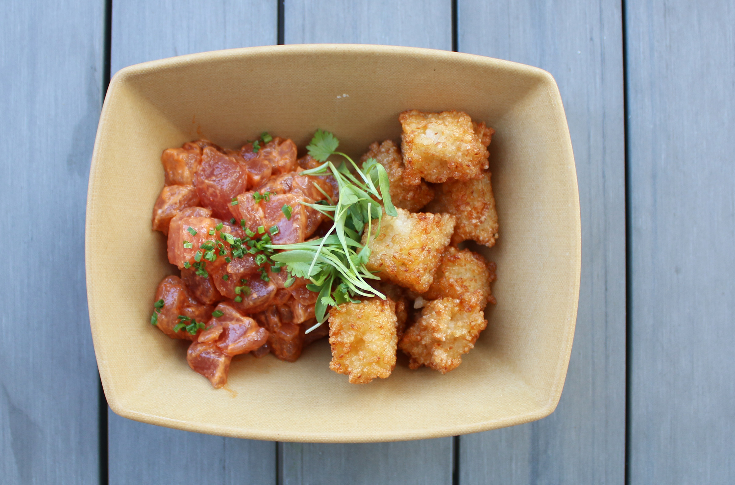 SPICY TUNA CRISPY RICE: spicy hawaiian tuna, soy butter crispy rice tots