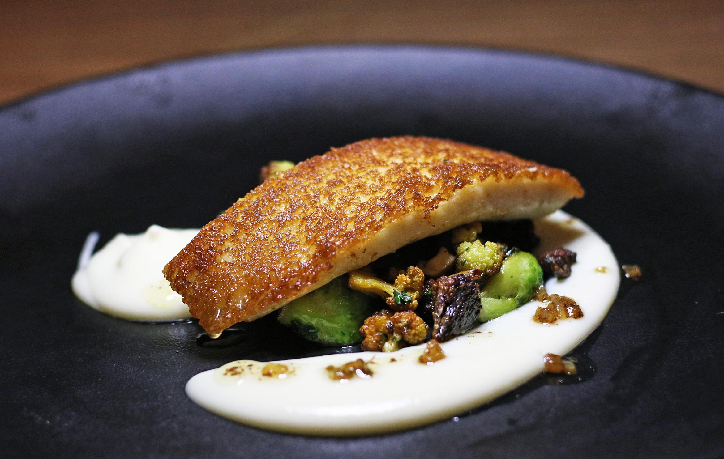 John Dory En Croute: Cauliflower, Hazelnut, Brussels