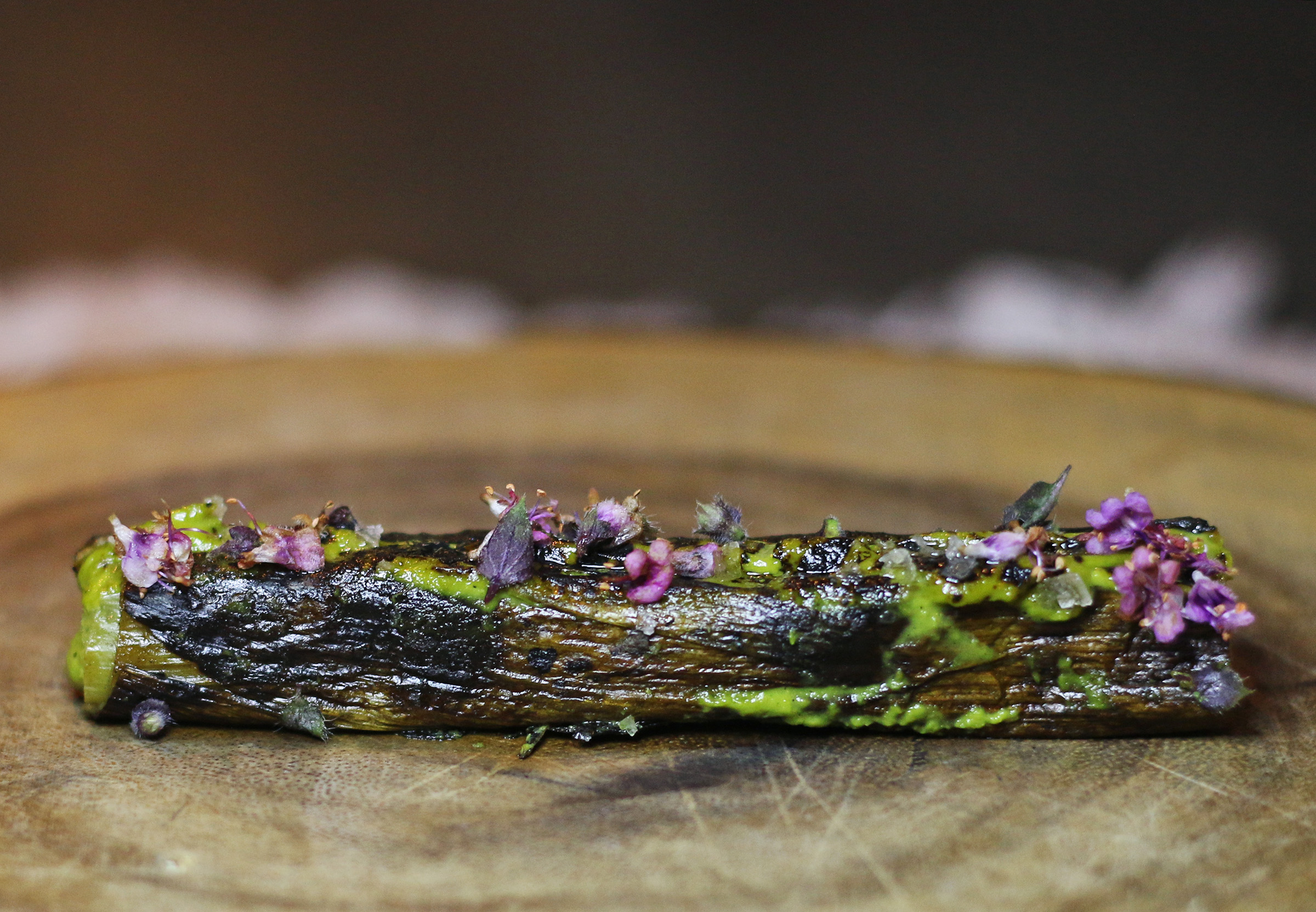 Roasted Leek with French Sea Salt and Bone Marrow