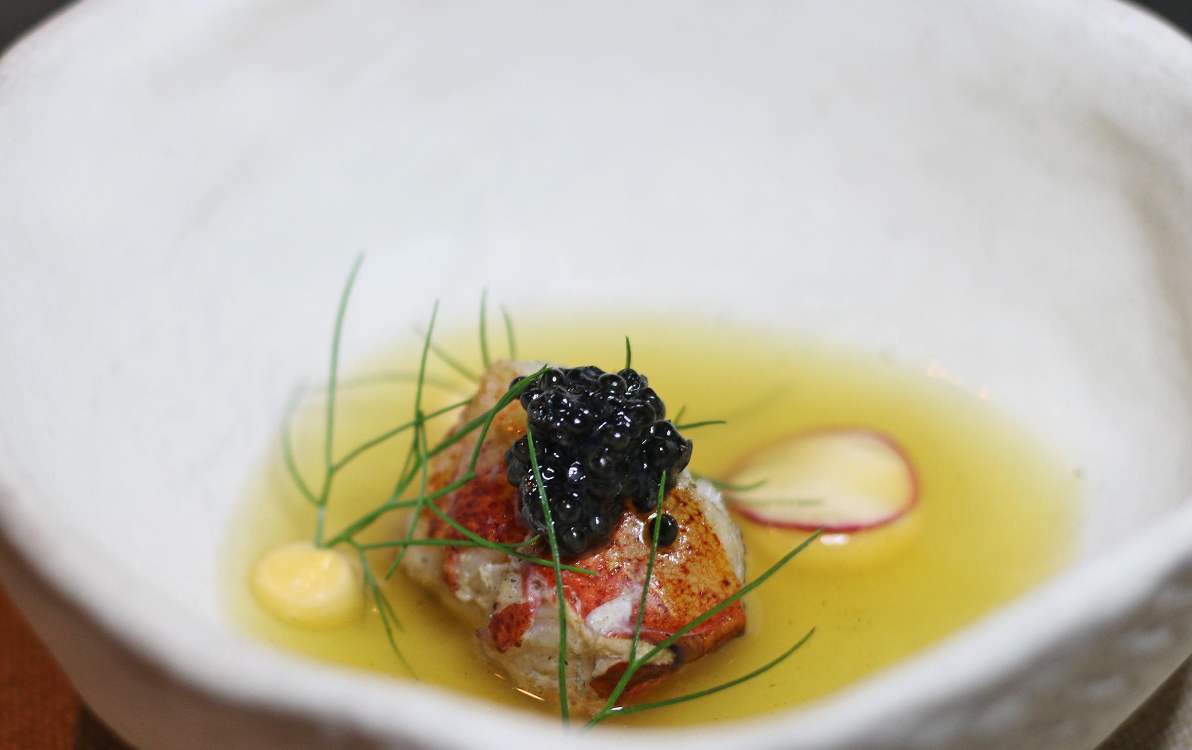 Maine Lobster Tail in a Sturgeon Caviar Bouillabaisse, w/a Paprika Aioli.