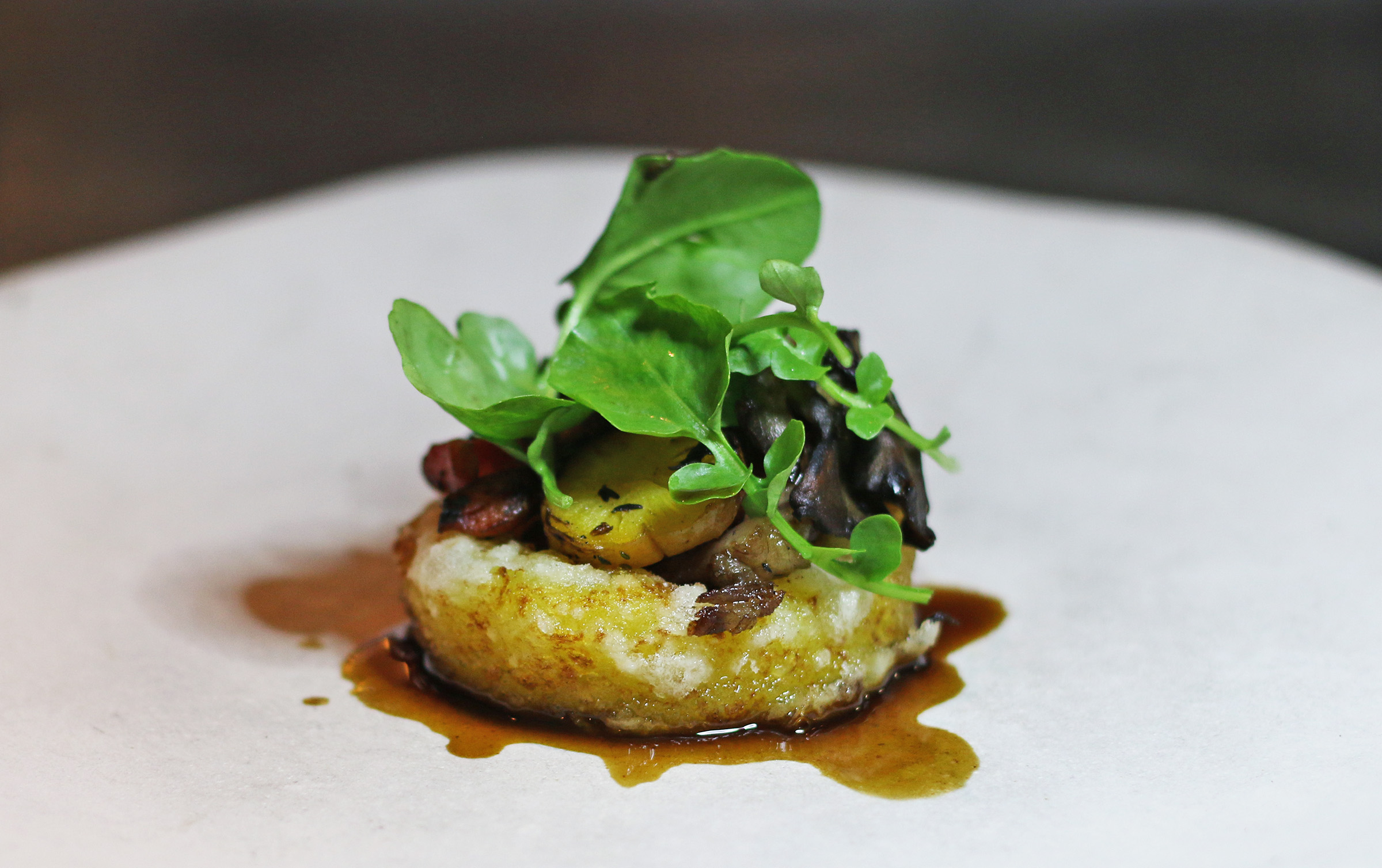 Wagyu served inside crispy potatoes. Roasted carrots and mushrooms with horfesradish demiglace.