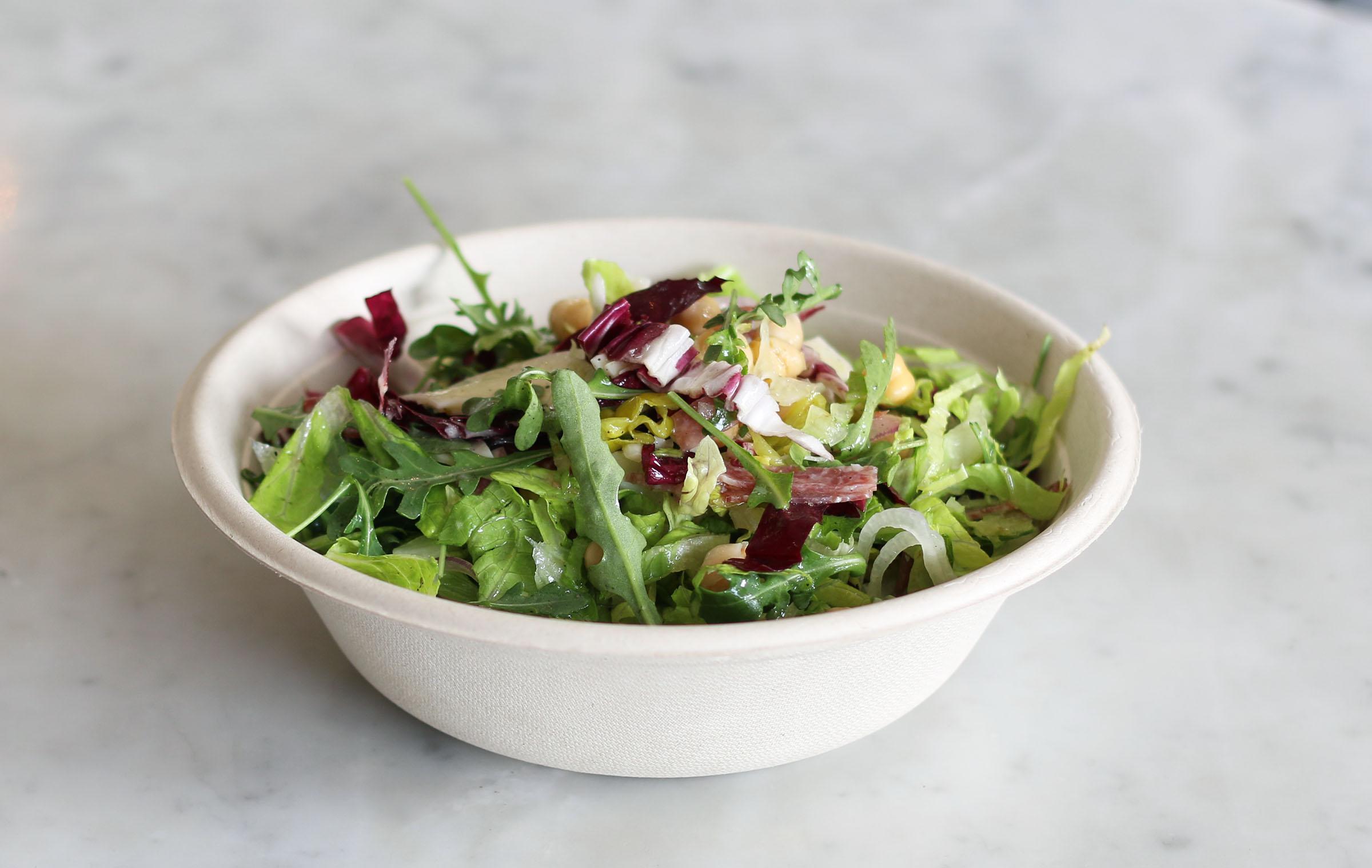 Chopped Salad: market greens, radicchio, chickpeas, red onion, provolone, soppressata, peperoncini