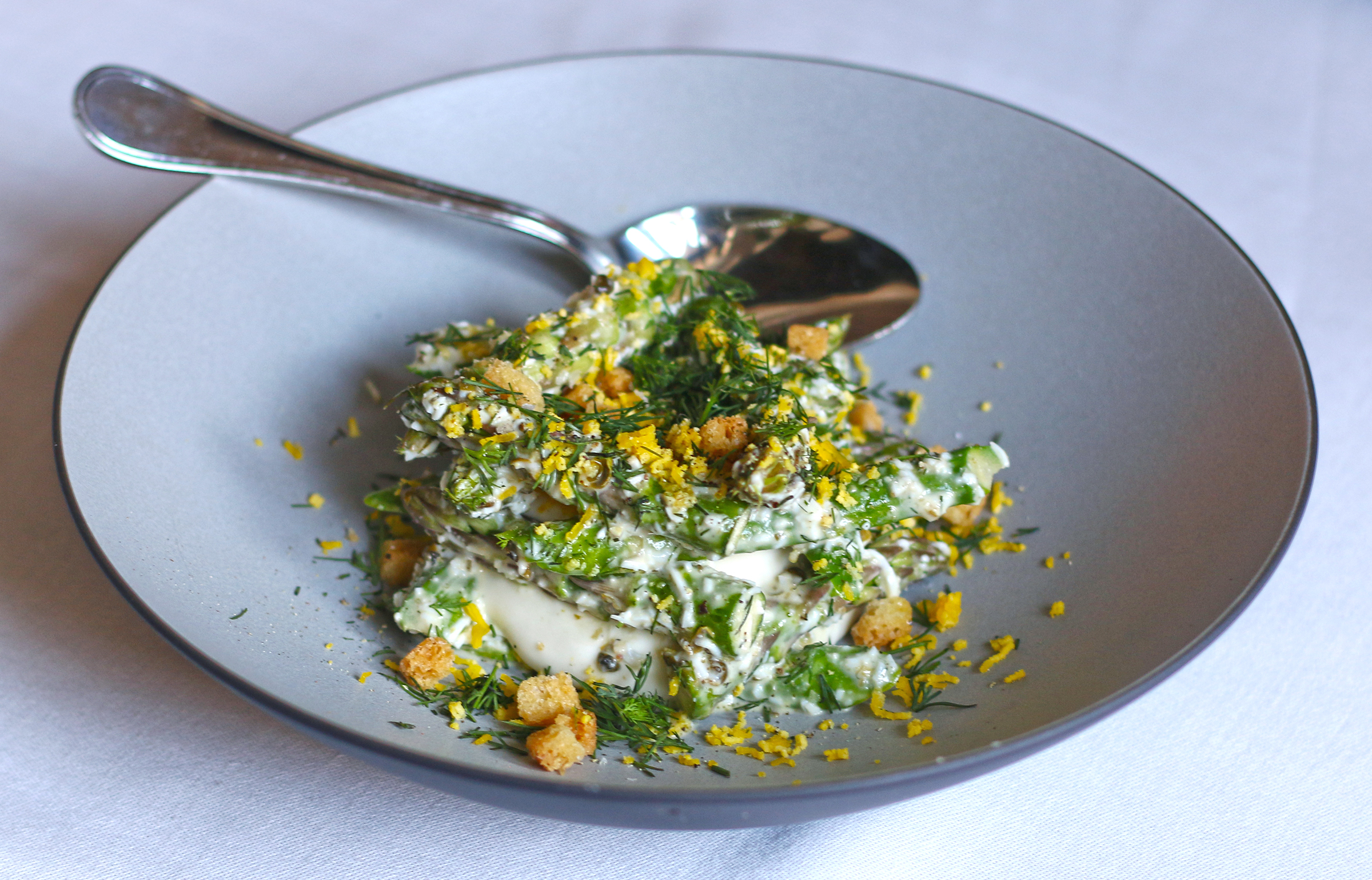 GREEN ASPARAGUS SALAD with Caesar Emulsion & Brioche Croutons