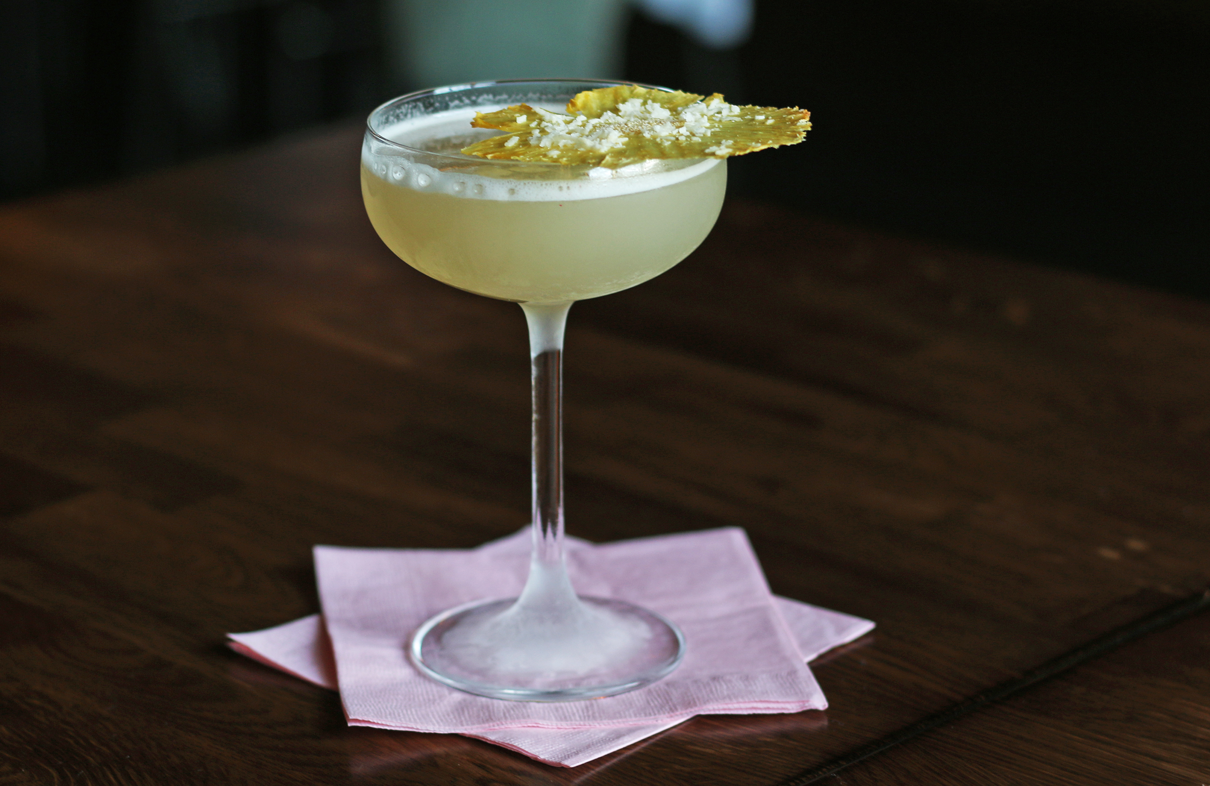 AFTERNOON DELIGHT: Ilegal Mezcal rested for 7 days with fresh cucumber & pineapple, Giffard Banane du Bresil, toasted coconut, lime
