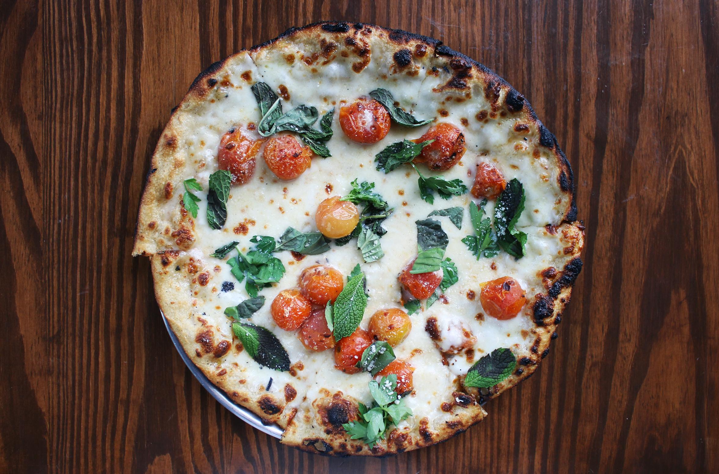 Blistered Cherry Tomato: scamorza, basil, parsley, mint