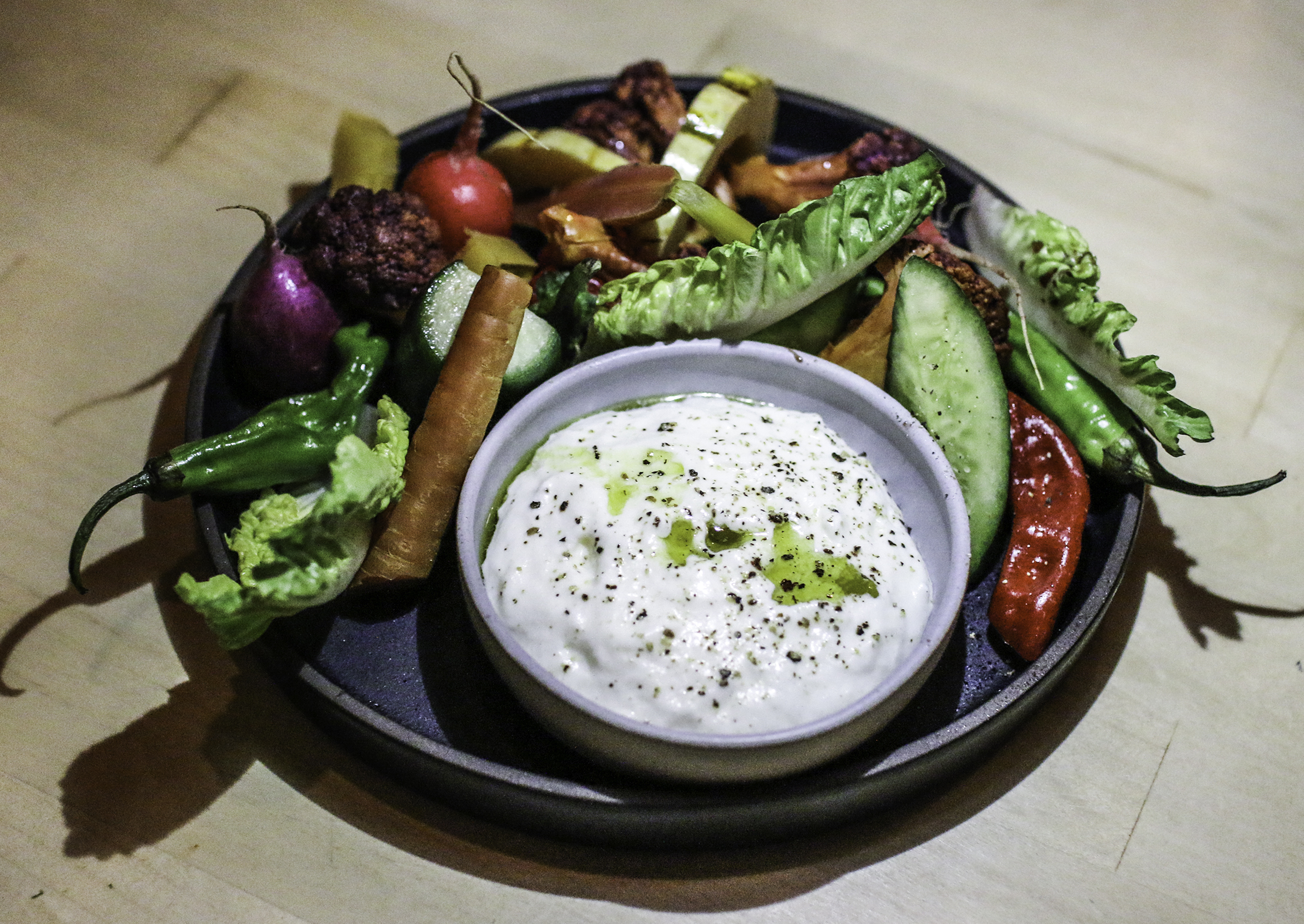 Market Crudites: whipped buratta ranch, charred onion oil, red wine vinegar