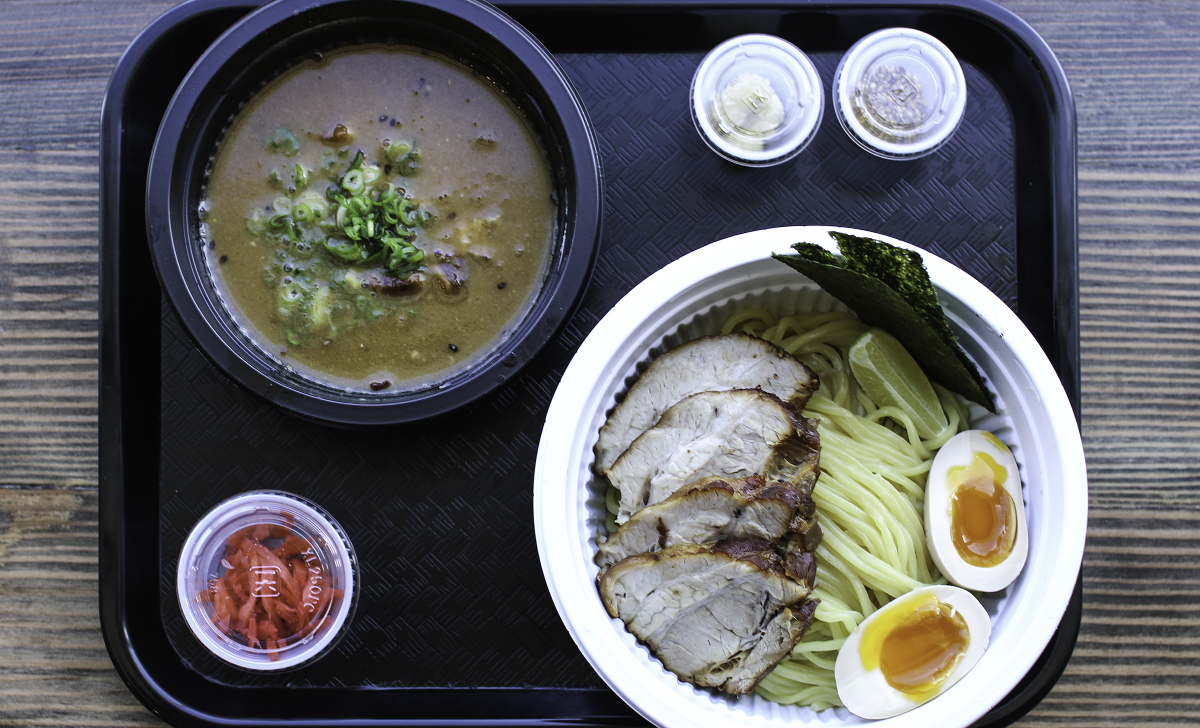 CHARSIU TSUKEMEN : FISH, PORK & CHICKEN BROTH,  tender pork belly (charsiu), bambooshoots, green onions, egg, lime & seaweed