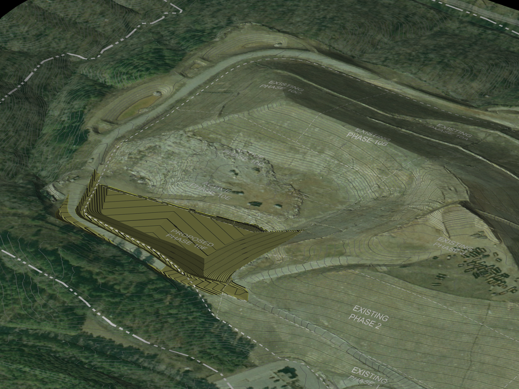 Rendering of a design for a new cell construction with existing conditions overlay - municipal solid waste facility, Georgia.