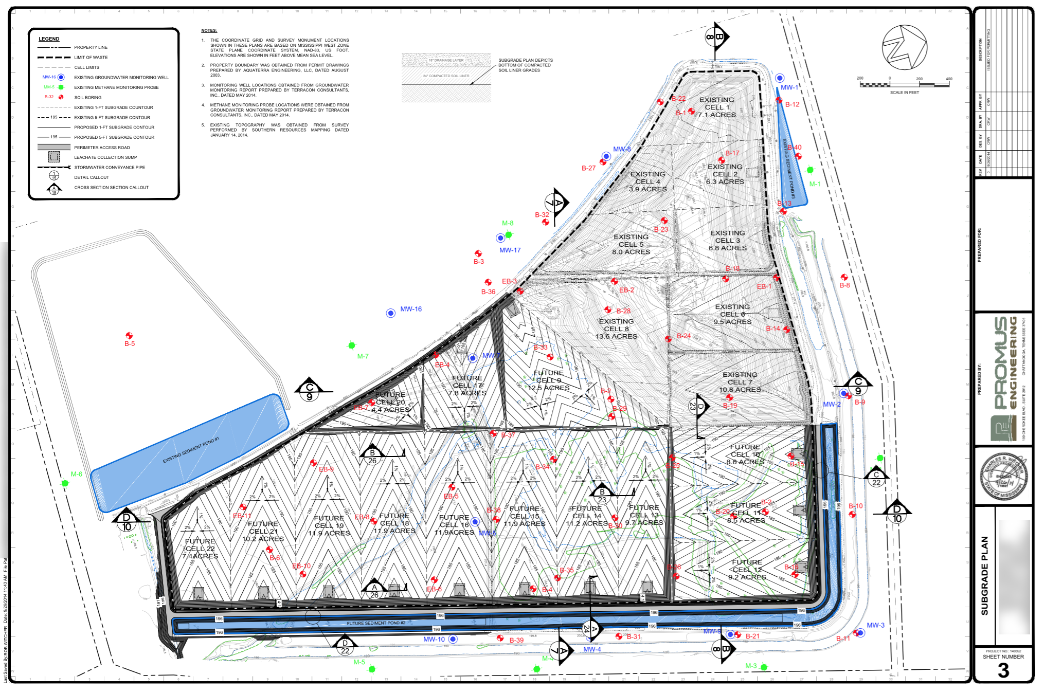 Permit renewal - grading plan, municipal solid waste facility, Mississippi.