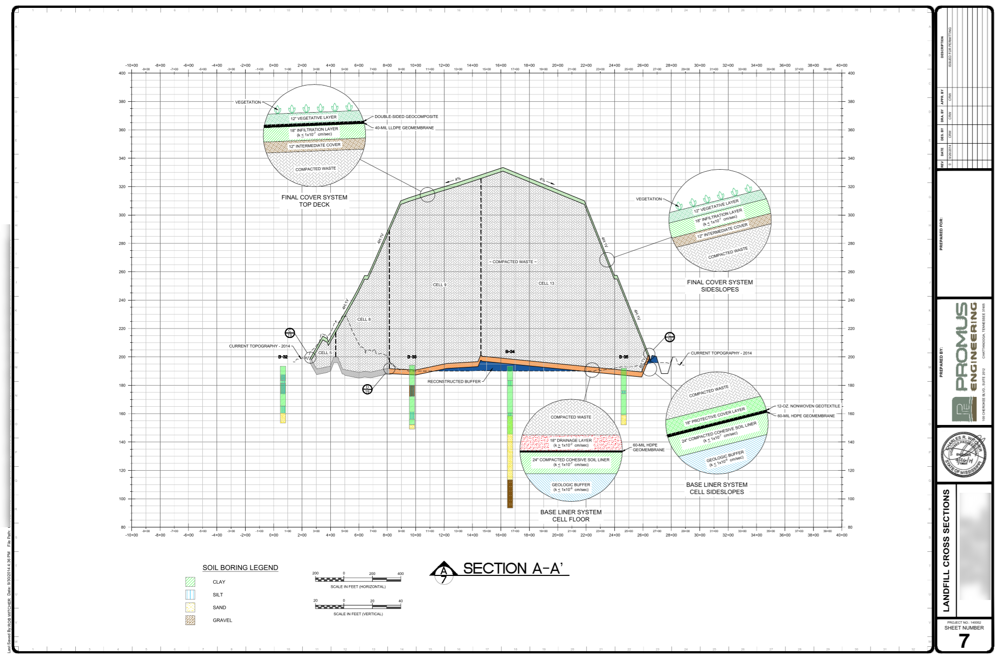 Permit renewal - landfill cross section and section details, municipal solid waste facility, Mississippi.