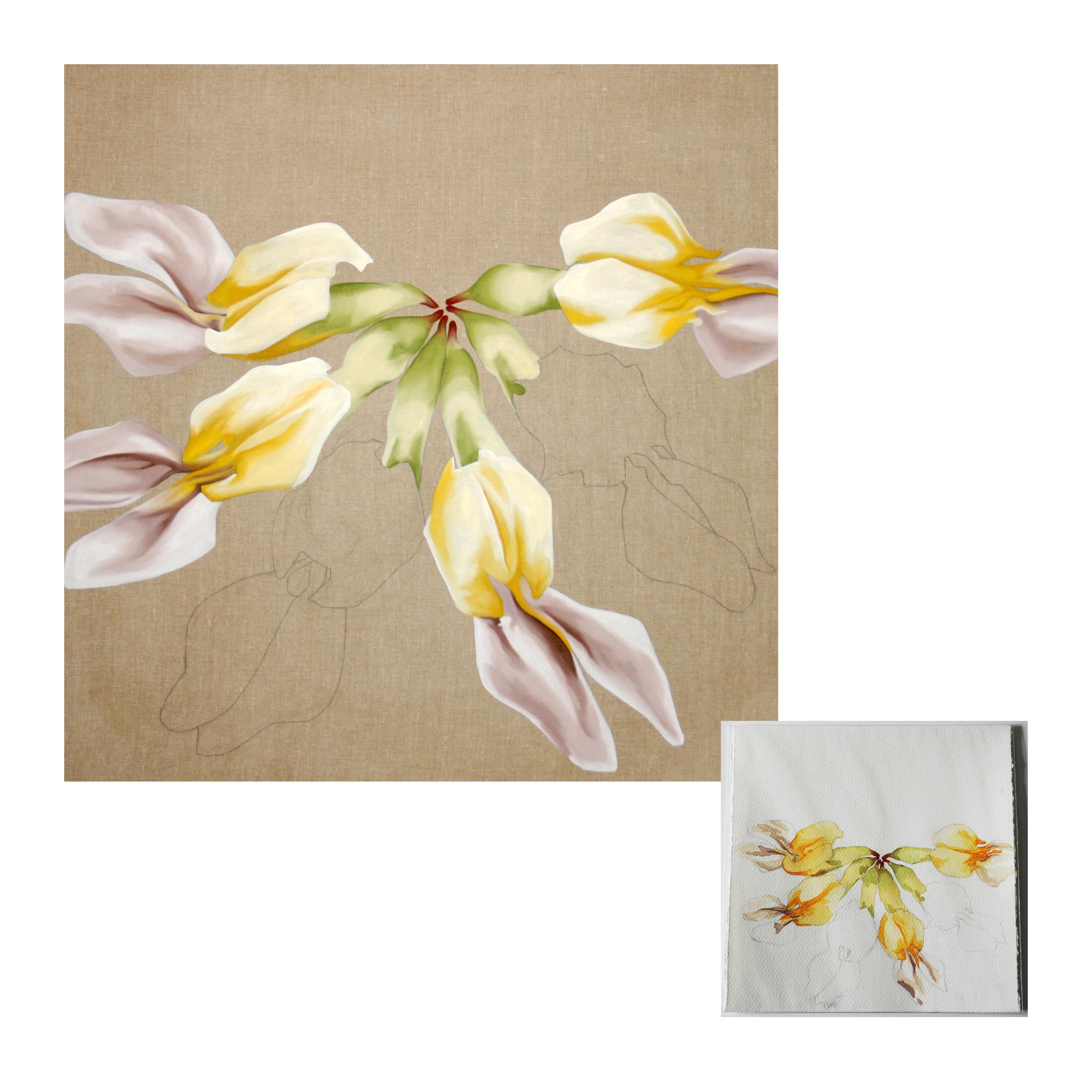 """Lotus Formosissimus Oil on linen 36"""" x 36"""" Original 10"""" x 10"""""""