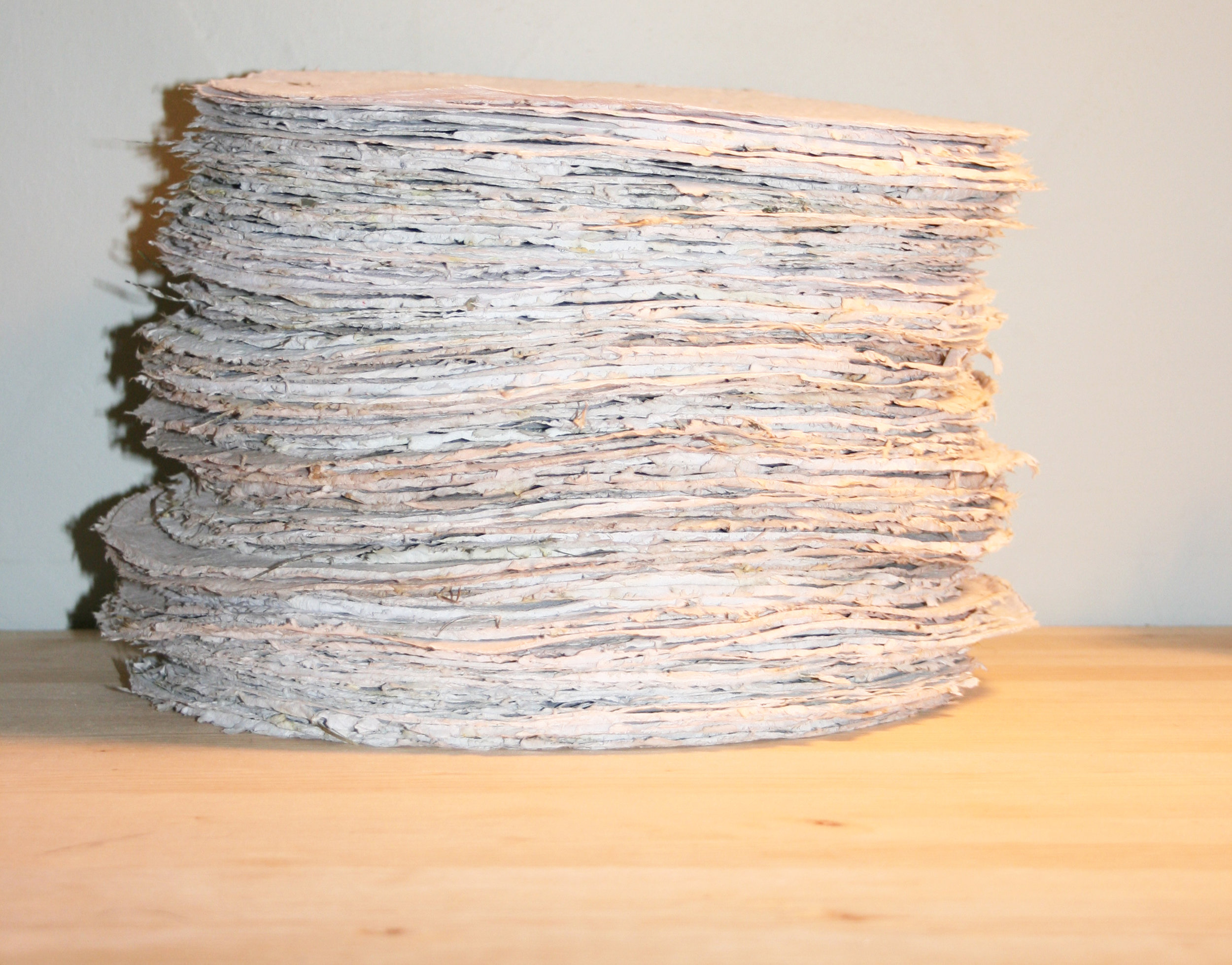 The finished paper all piled up ready to be delivered to the gallery.