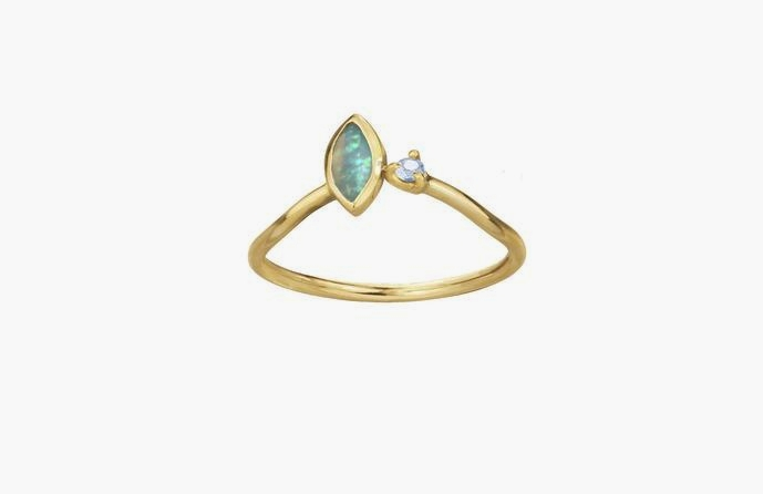Angled Opal Ring from Wwake // Handcrafted Jewelry Brands For The Minimalist
