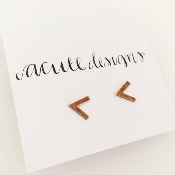 Arrow Stud Earrings that support refugees by Acute Designs on Etsy // Handcrafted Jewelry Brands For The Minimalist