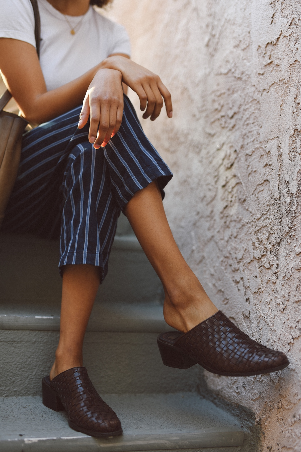 Striped Reformation pants and vintage mules  // A Week Of Outfits With Jazmine Brown on The Good Trade