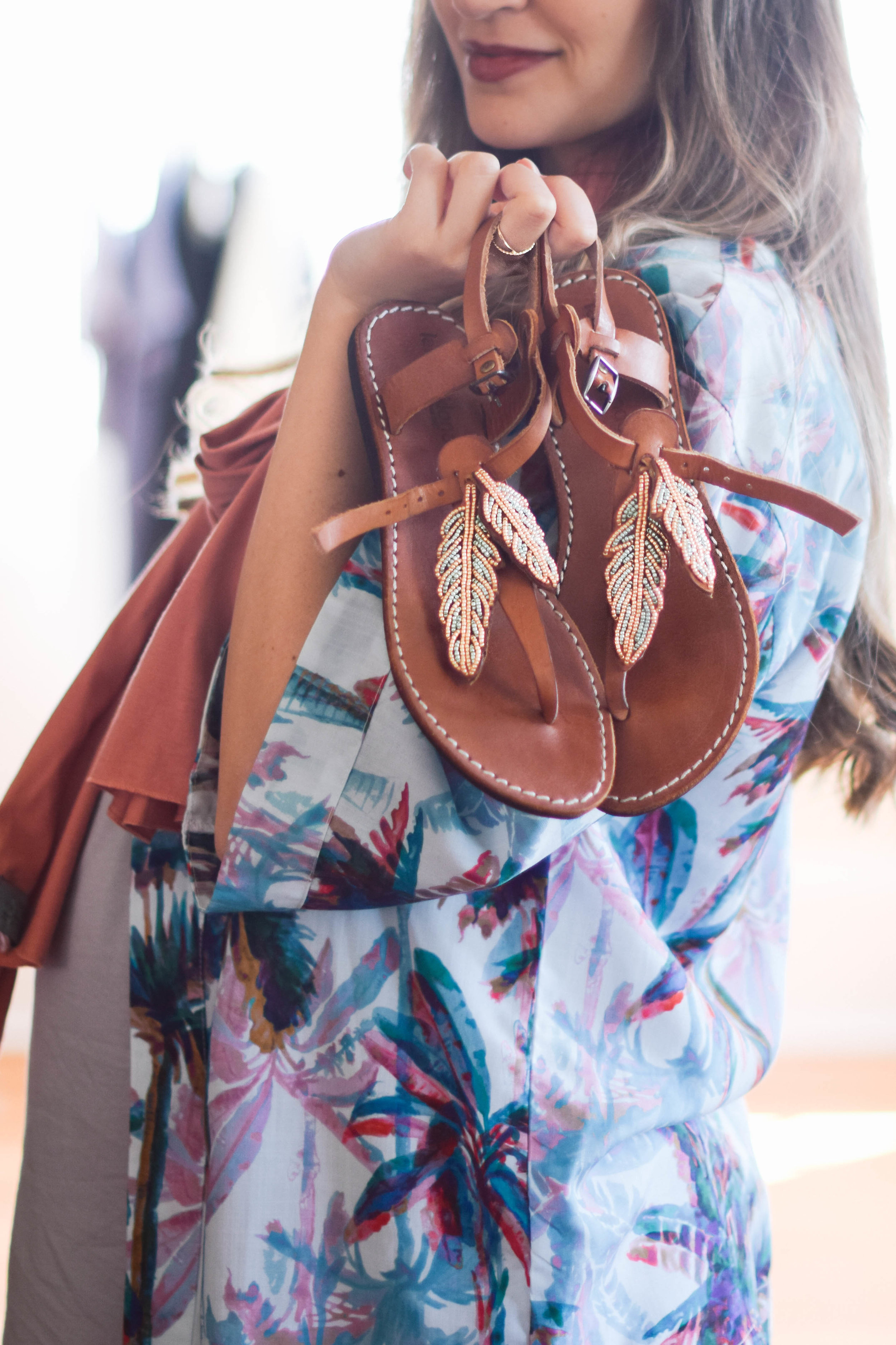 Summer beaded accent sandals // A Week Of Sustainable Maternity Outfits With Natalie Kay Smith From Sustainably Chic on The Good Trade