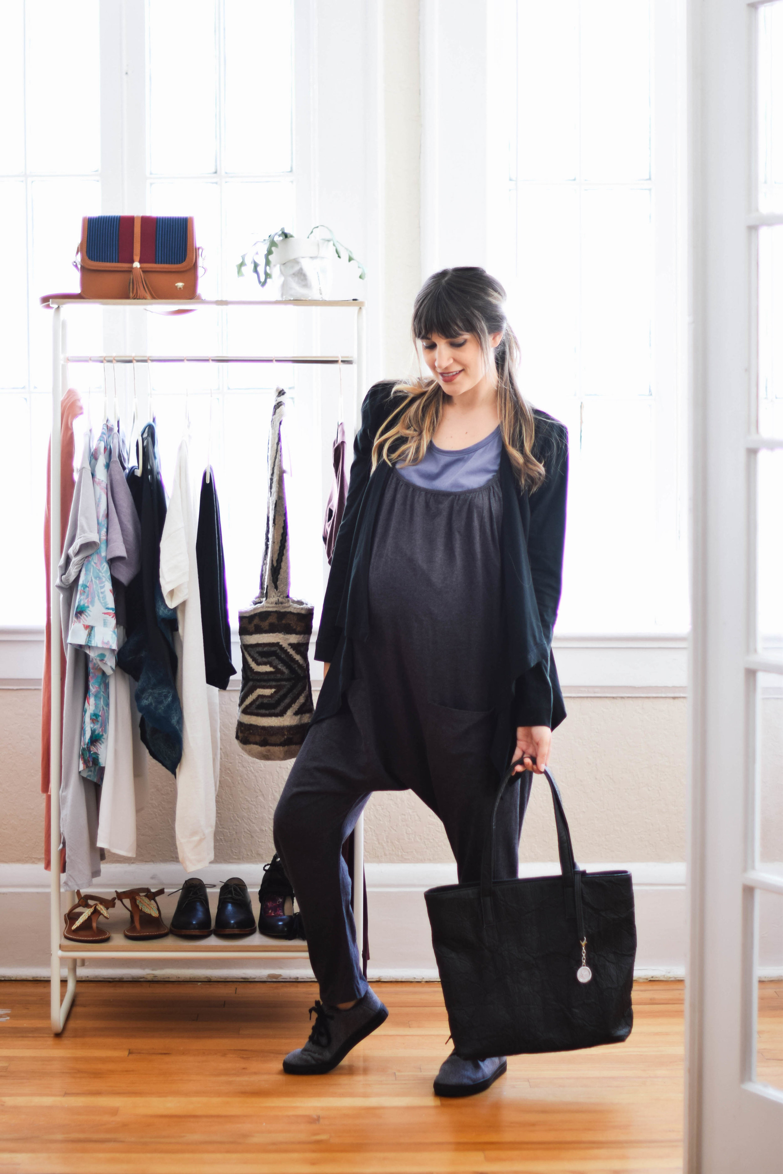 Cotton one piece jumpsuit // A Week Of Sustainable Maternity Outfits With Natalie Kay Smith From Sustainably Chic on The Good Trade
