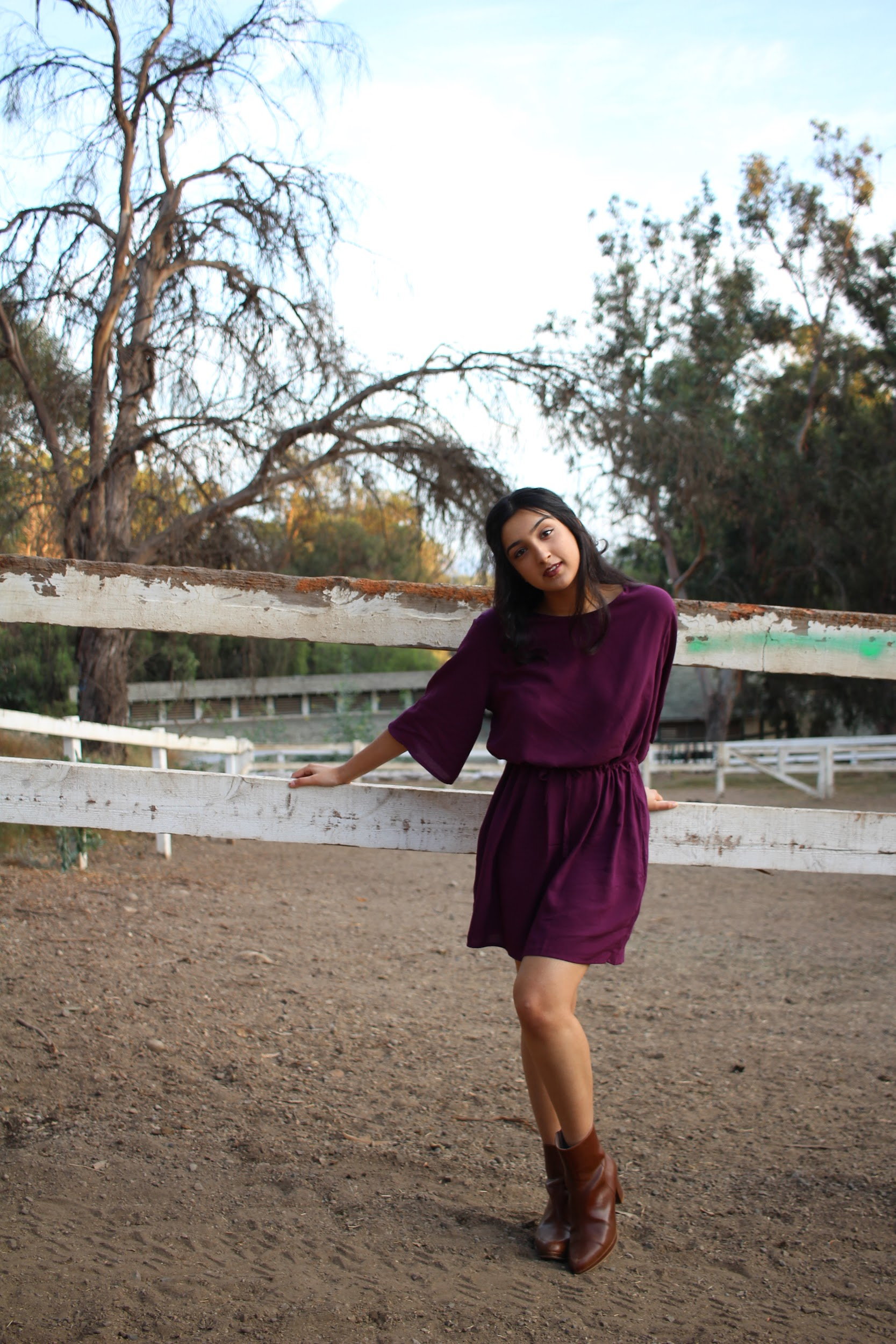 Burgundy casual dress with sleeves // A Week Of Ethical Outfits With Aditi Mayer on The Good Trade