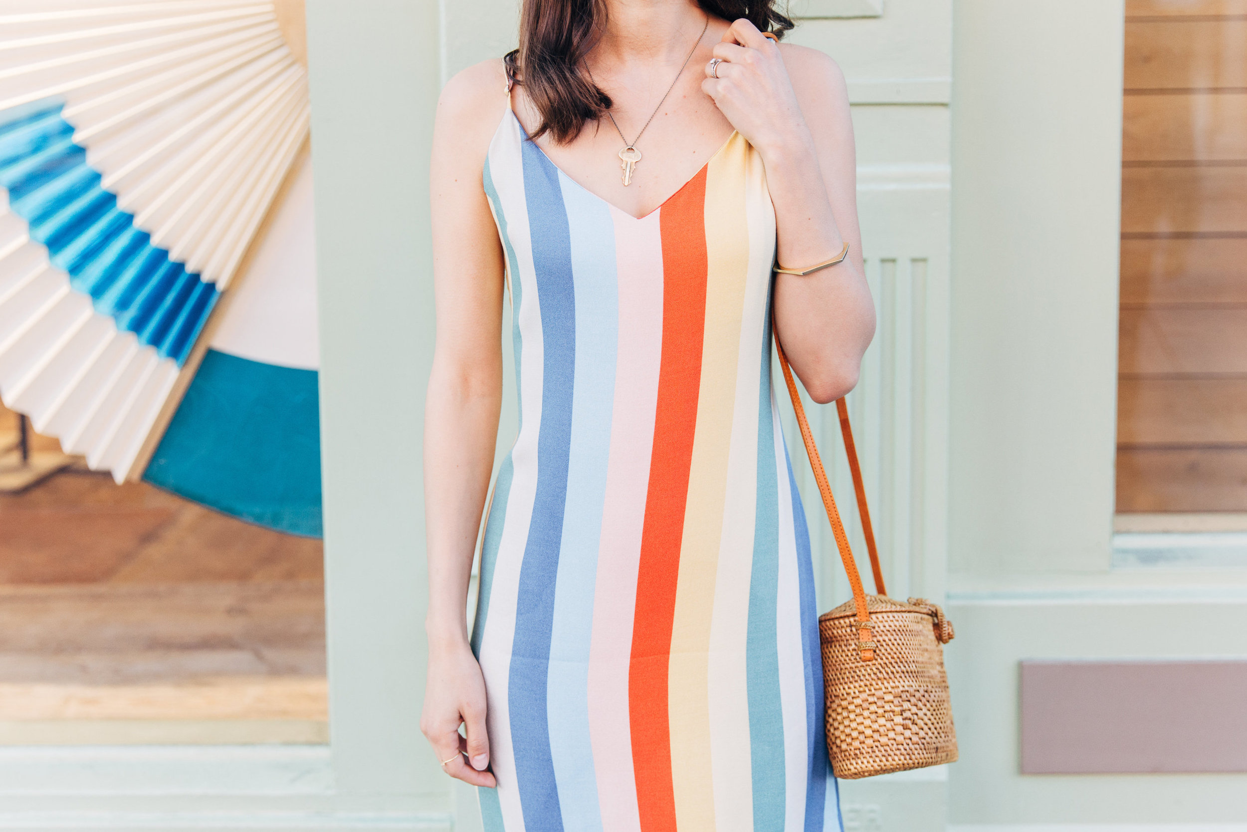 The Giving Keys necklace with a Sunday dress // A Week Of Bright & Bold Ethical Outfits With Michelle Chavez From Michelle For Good on The Good Trade