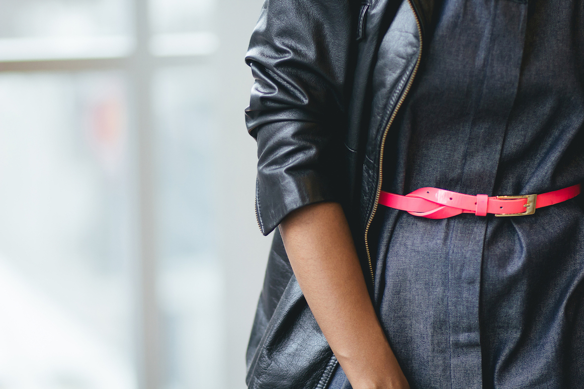 Neon pink vintage belt detail // Week Of Outfits Series: A Week Of Well-Crafted & Beautiful Outfits With Kathleen Elie, Founder Of Conscious & Chic on The Good Trade