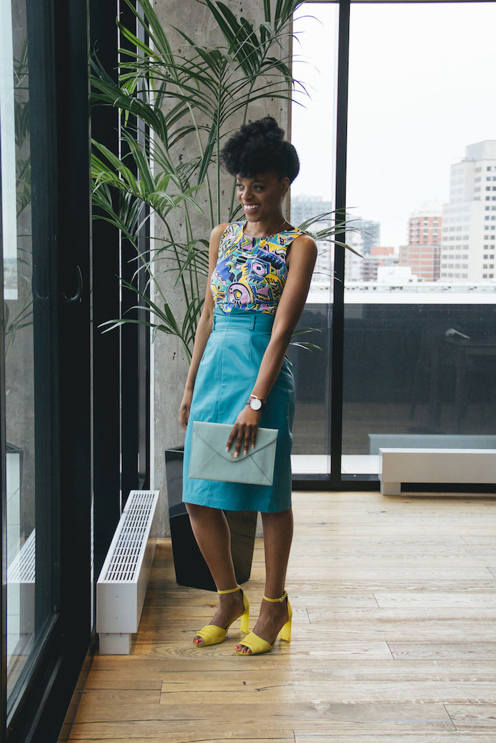 Retro 80s color scheme for a playful, vintage Friday outfit // Week Of Outfits Series: A Week Of Well-Crafted & Beautiful Outfits With Kathleen Elie, Founder Of Conscious & Chic on The Good Trade