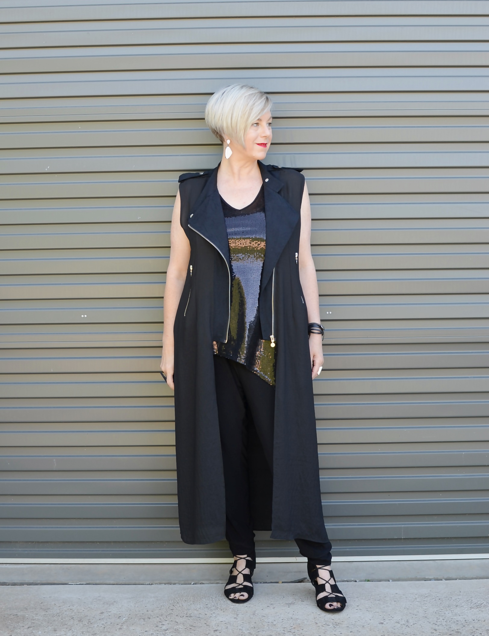 Long vest and sequin top for Saturday night // A Week Of Elevated Classic Outfits With Deborah Gates From Stylish Murmurs on The Good Trade