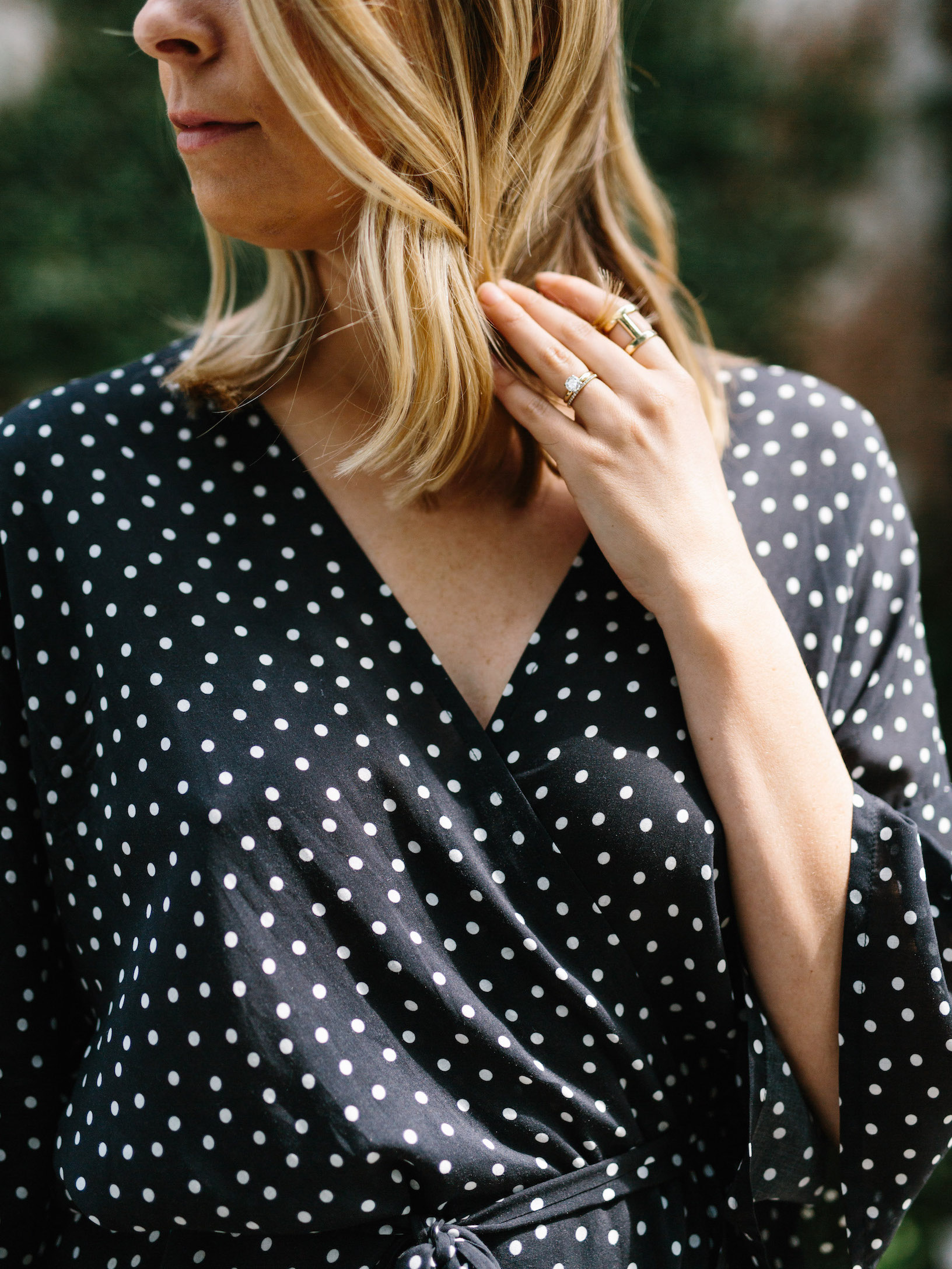 Kimono-inspired polka dot wrap dress // A Week Of Summertime Minimalist Outfits With Ava Darnell, Founder Of Slumlove Sweater Company on The Good Trade