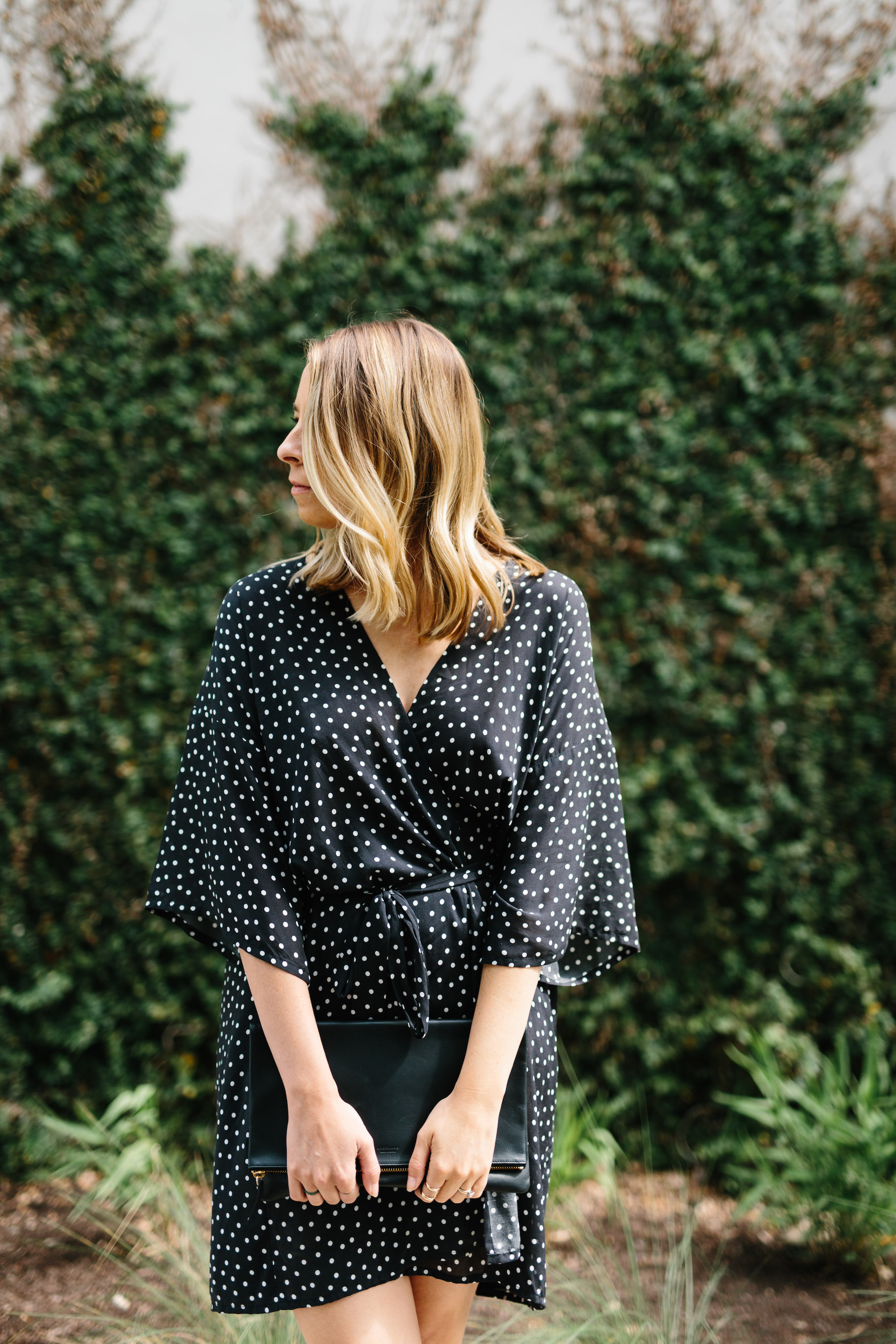 Bell sleeve polka dot dress // A Week Of Summertime Minimalist Outfits With Ava Darnell, Founder Of Slumlove Sweater Company on The Good Trade
