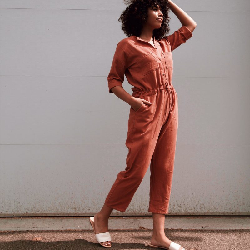 Hackwith Design House Painter Drawstring Jumpsuit in Baked Clay
