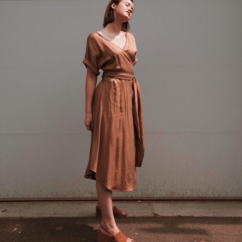 Hackwith Design House Midi Reversible Wrap Dress in Camel Tencel
