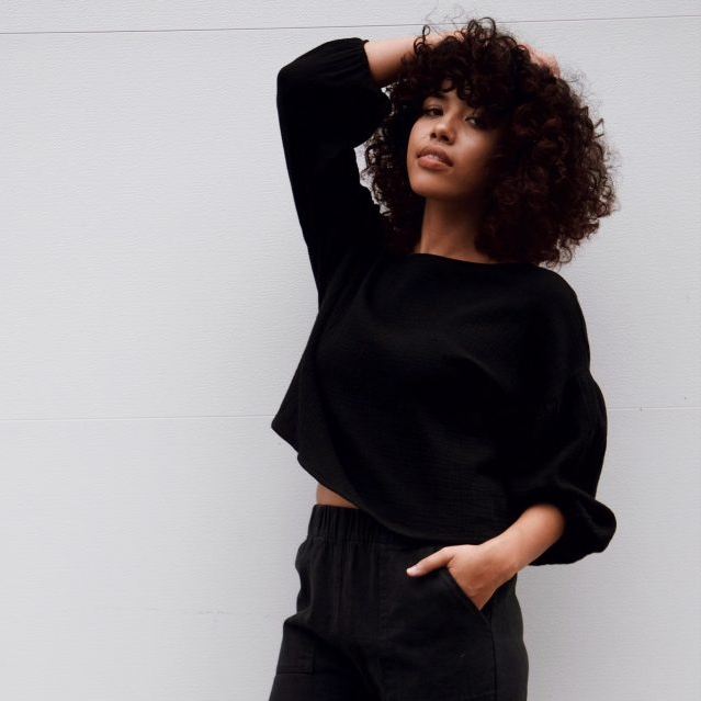 Hackwith Design House Balloon Sleeve Top In Black Cotton