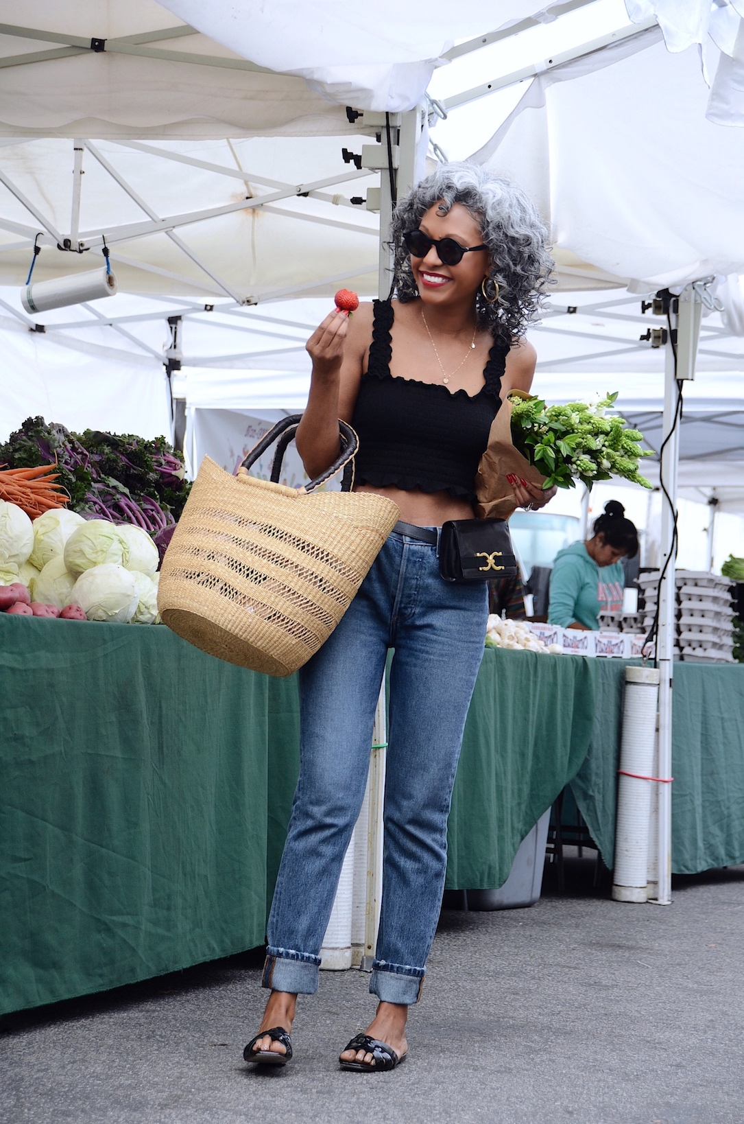 Farmer's market basket and outfit // A Week Of Sophisticated Slow Fashion Outfits With Tennille Murphy From The Tennille Life on The Good Trade